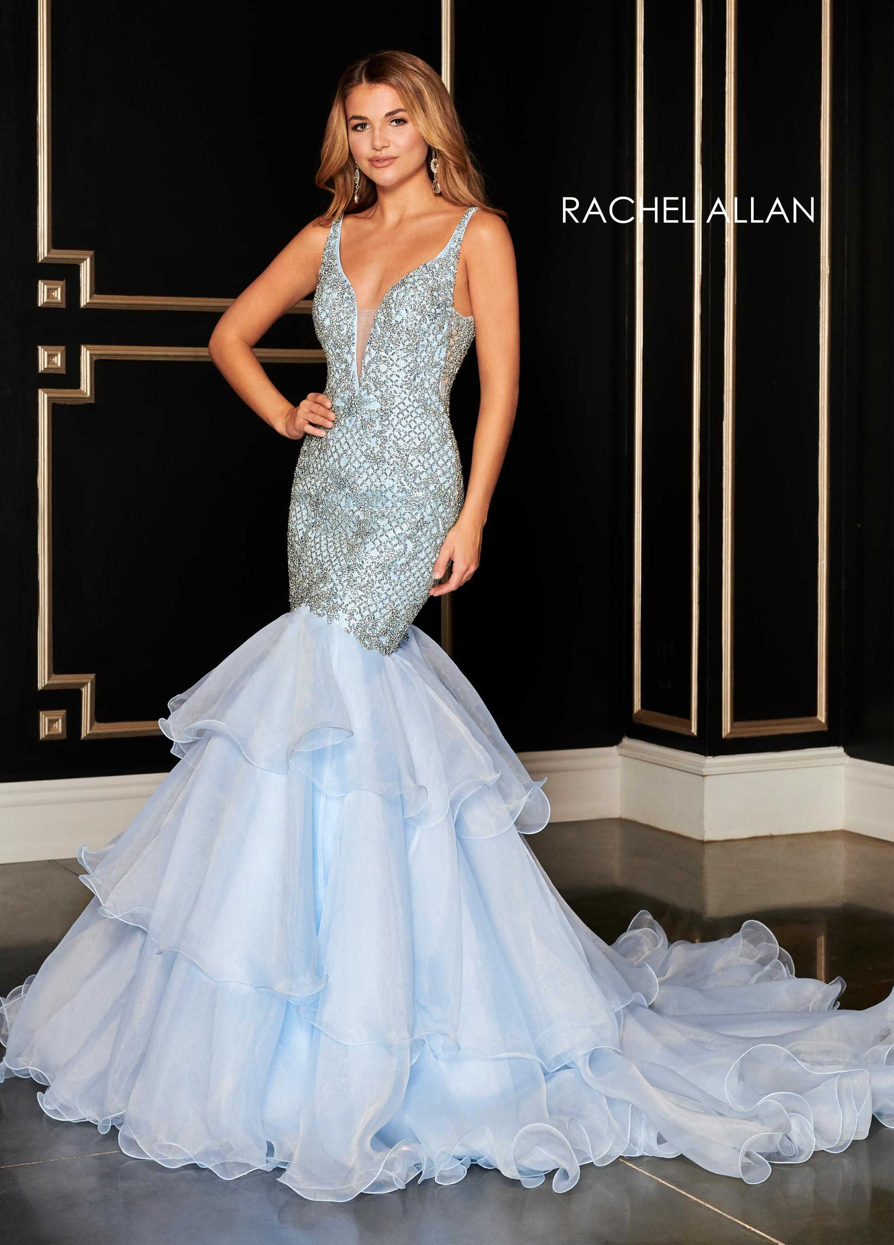 V-Neck Mermaid Pageant Dresses in Blue Color