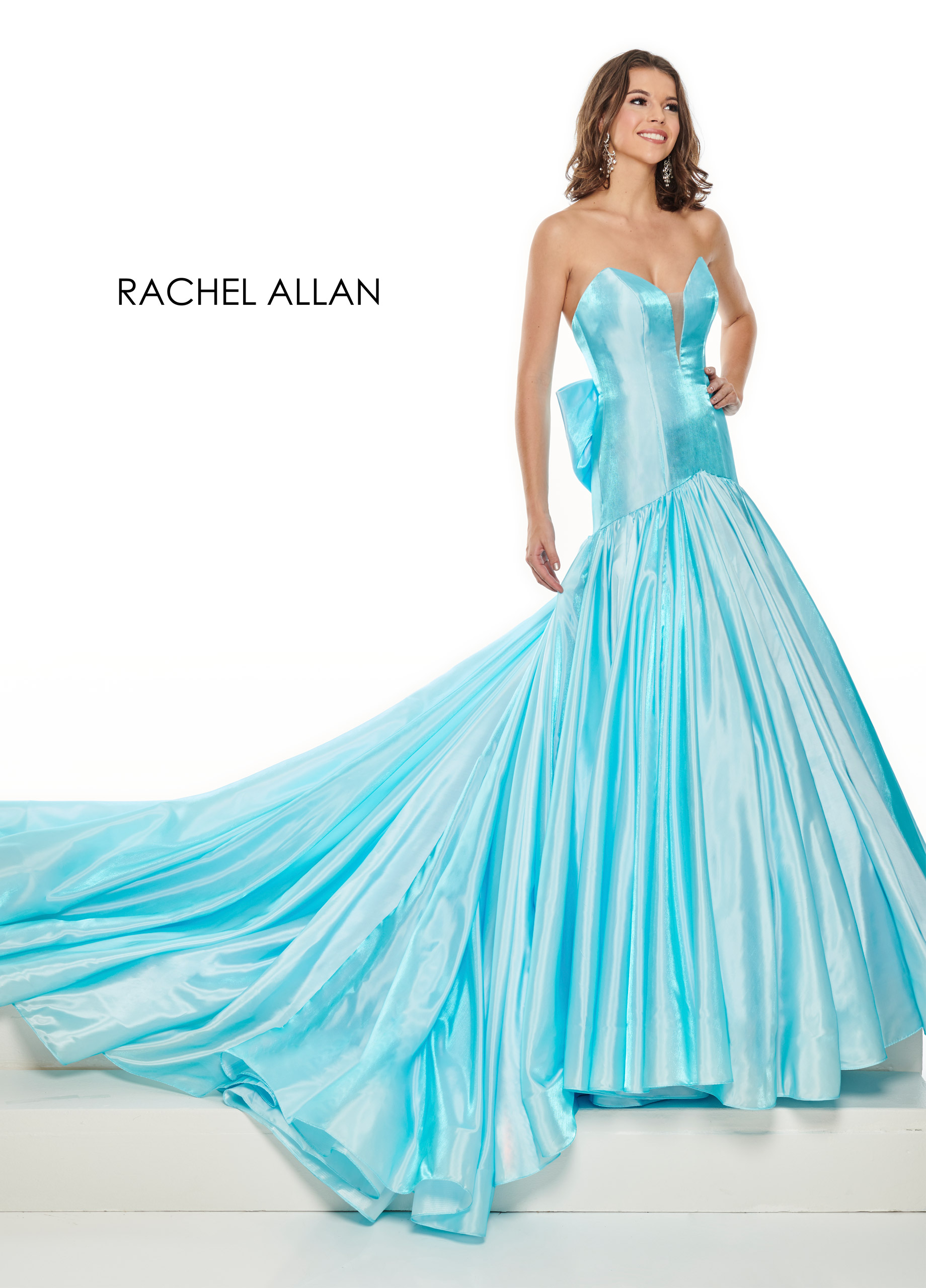 Strapless Drop Waist Pageant Dresses in Blue Color