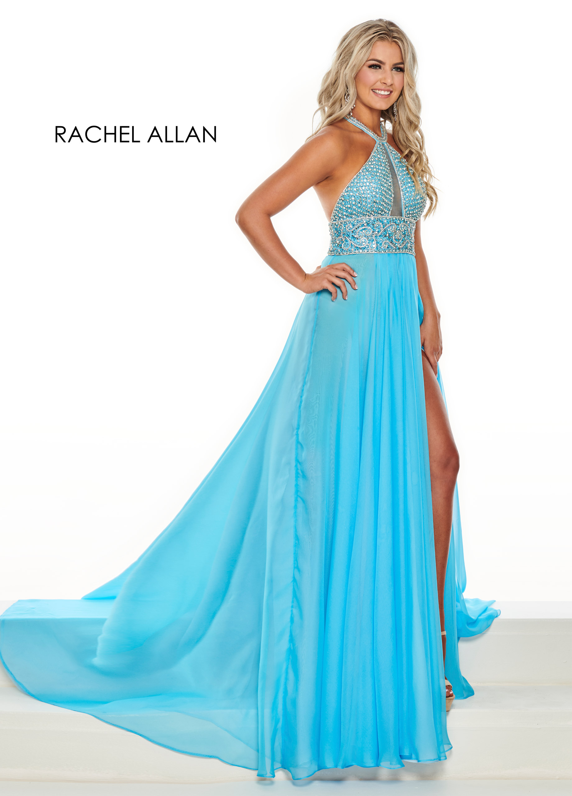 Halter A-Line Pageant Dresses in Blue Color