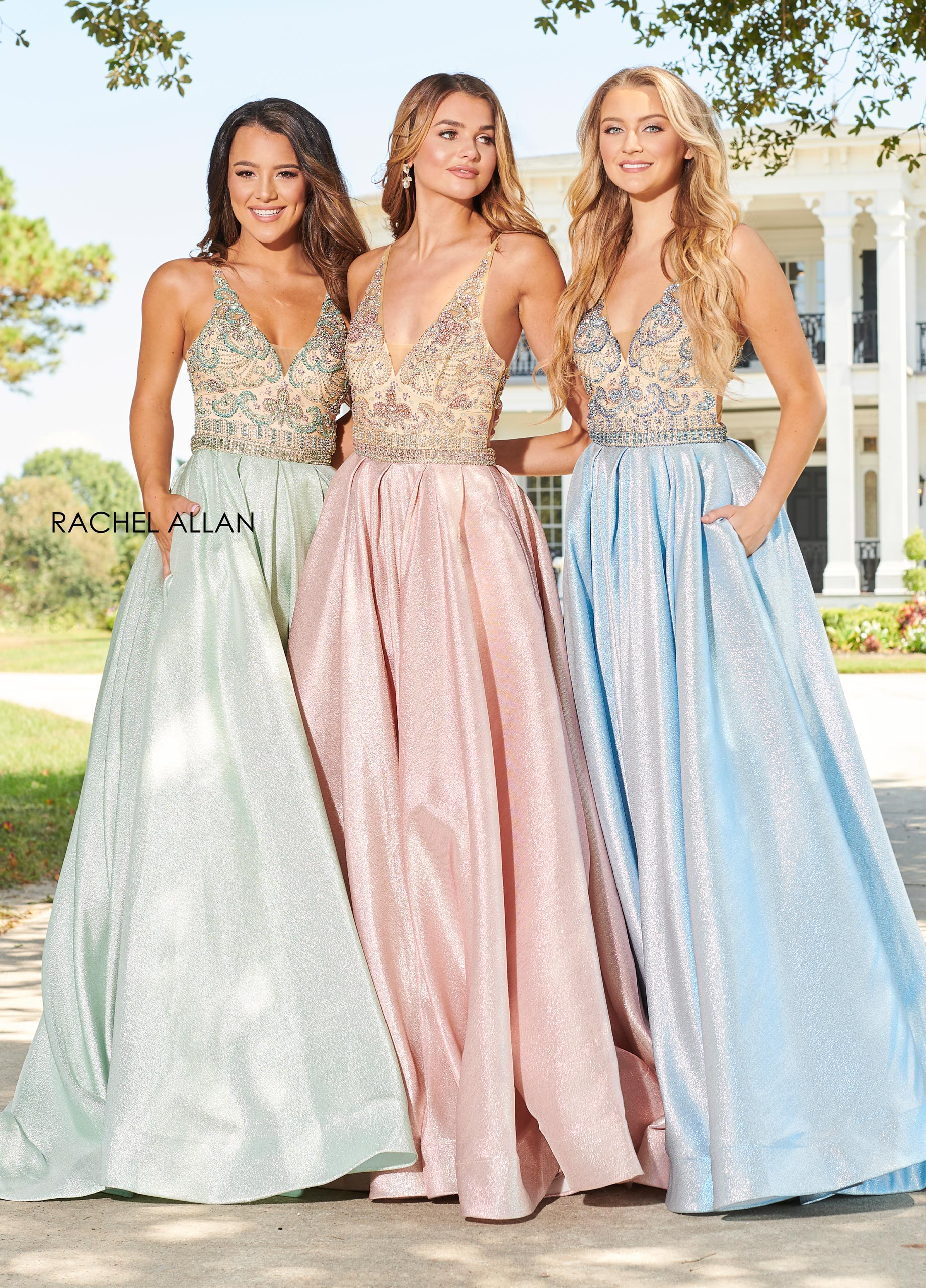 V-Neck A-Line Prom Dresses in Blue Color