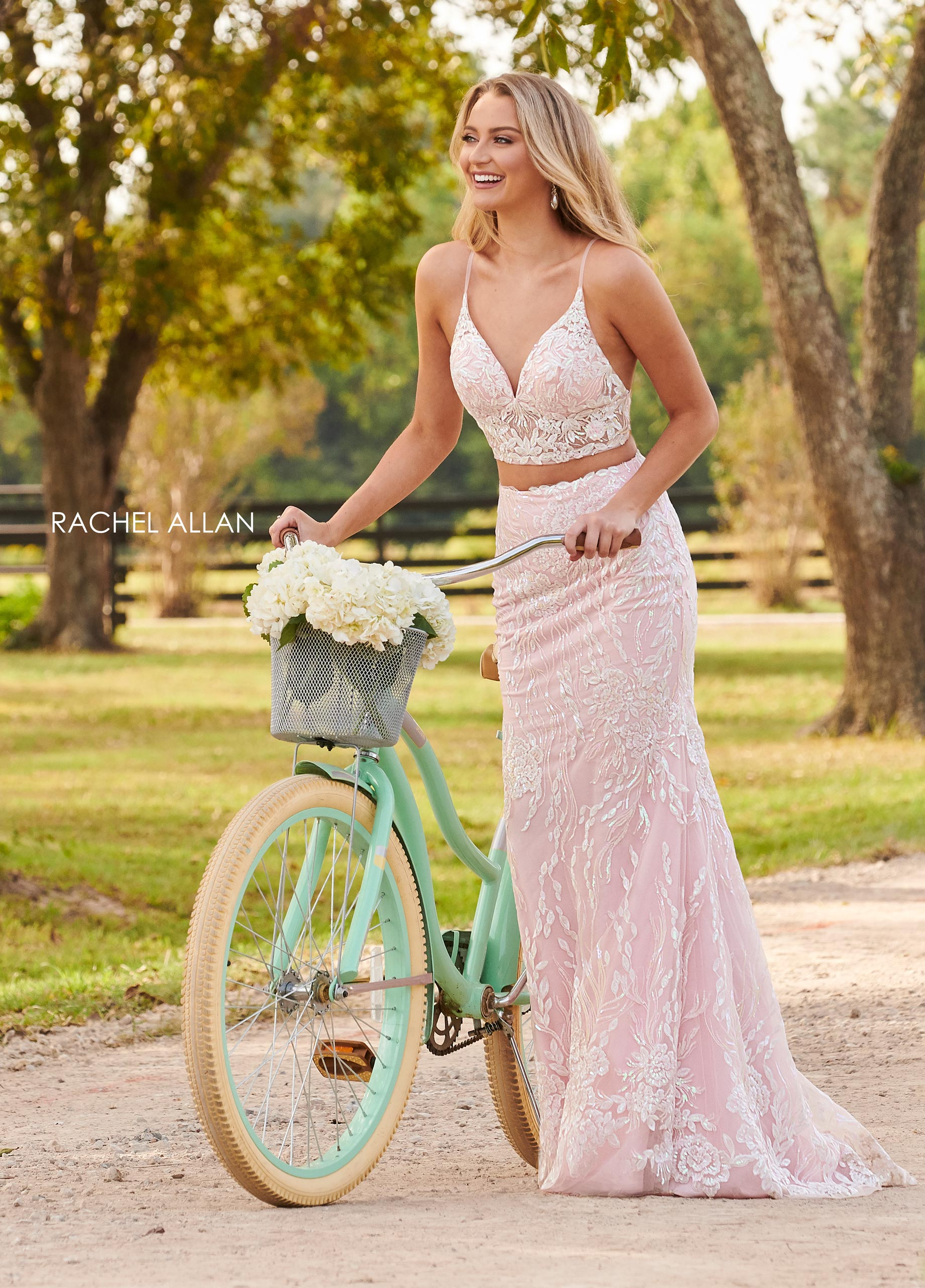 Strappy Two-Piece Prom Dresses in Blush Color