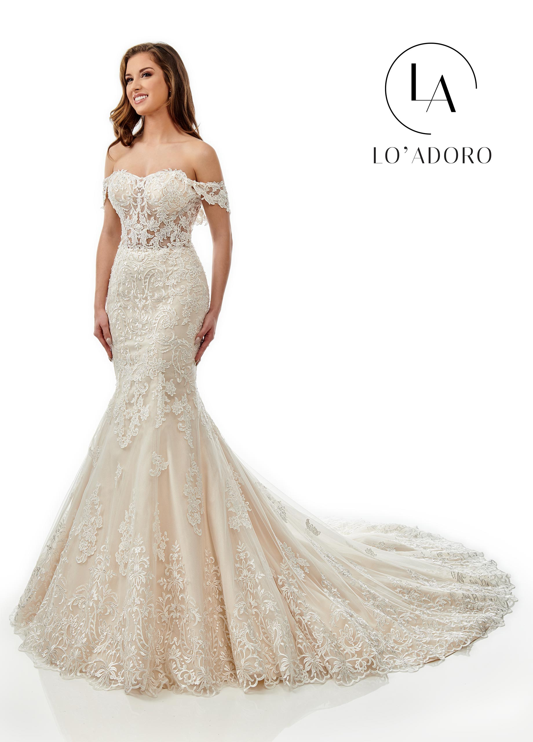 Sweetheart Mermaid Lo' Adoro Bridal in Champagne Color