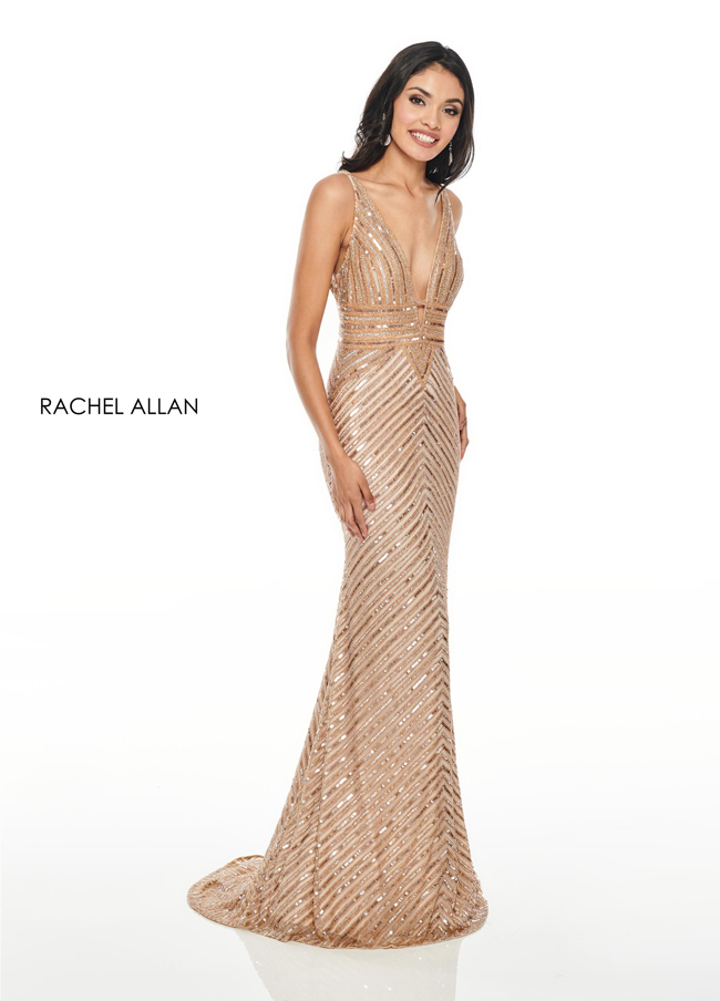 V-Neck Fitted Long Prom Dresses in Champagne Color