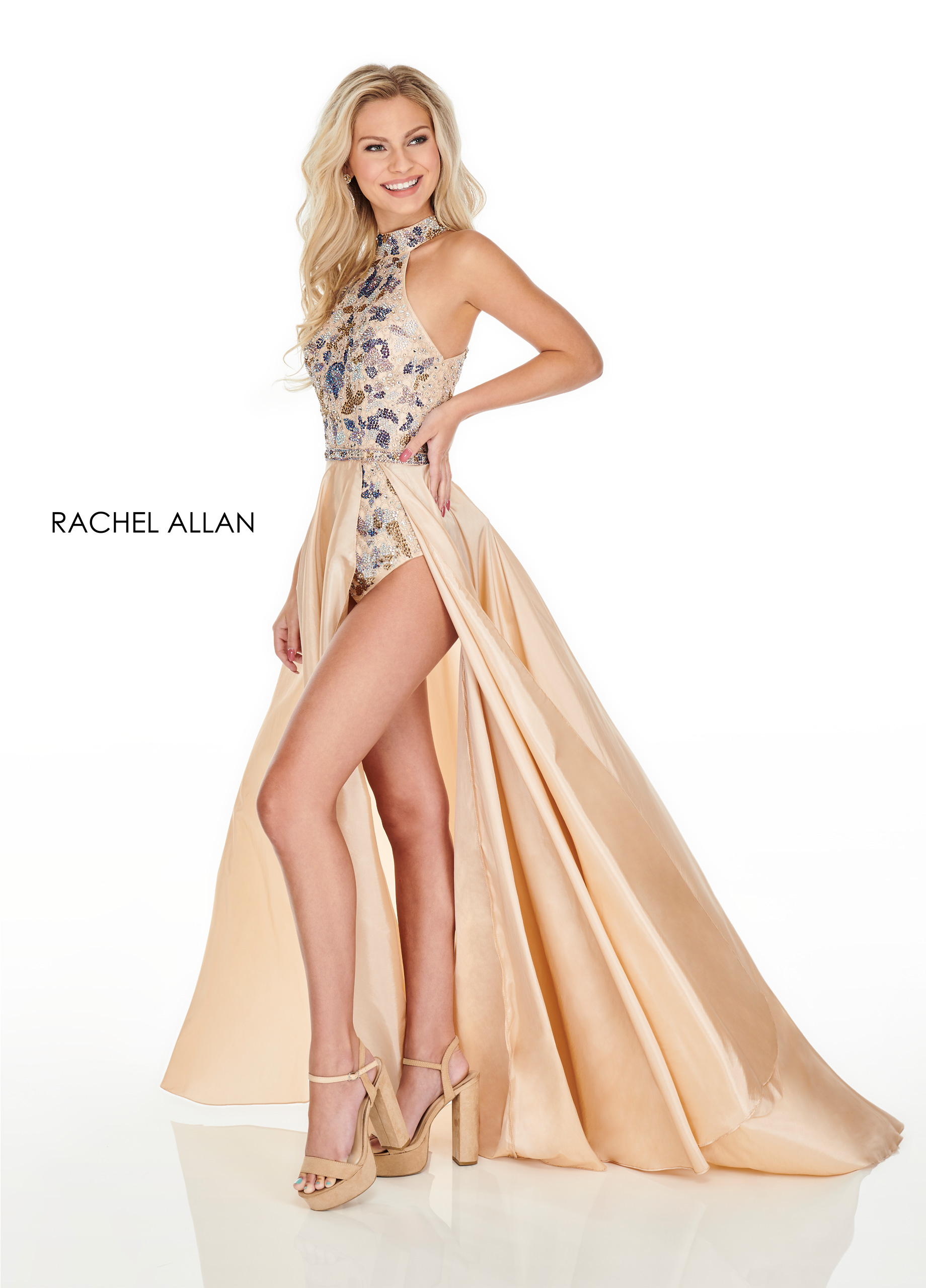 Beaded Bodysuit With Overlay Prom Dresses in Champagne Color