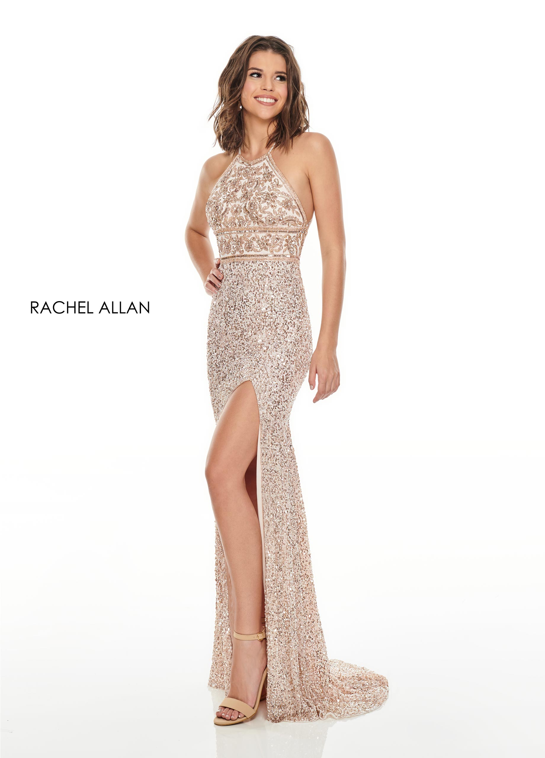 Beaded Fitted Long Prom Dresses in Champagne Color