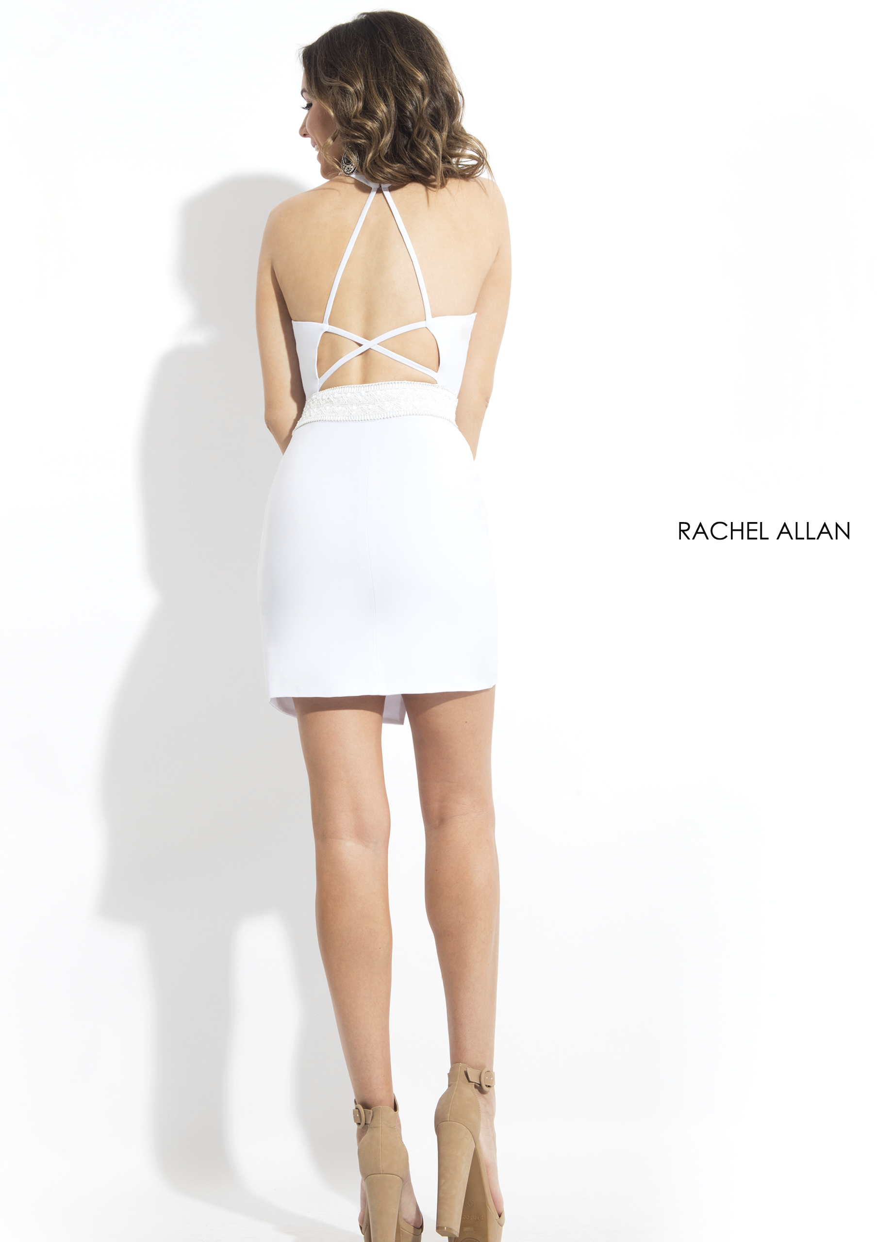Halter Fitted Mini Cocktail Dresses in White Color
