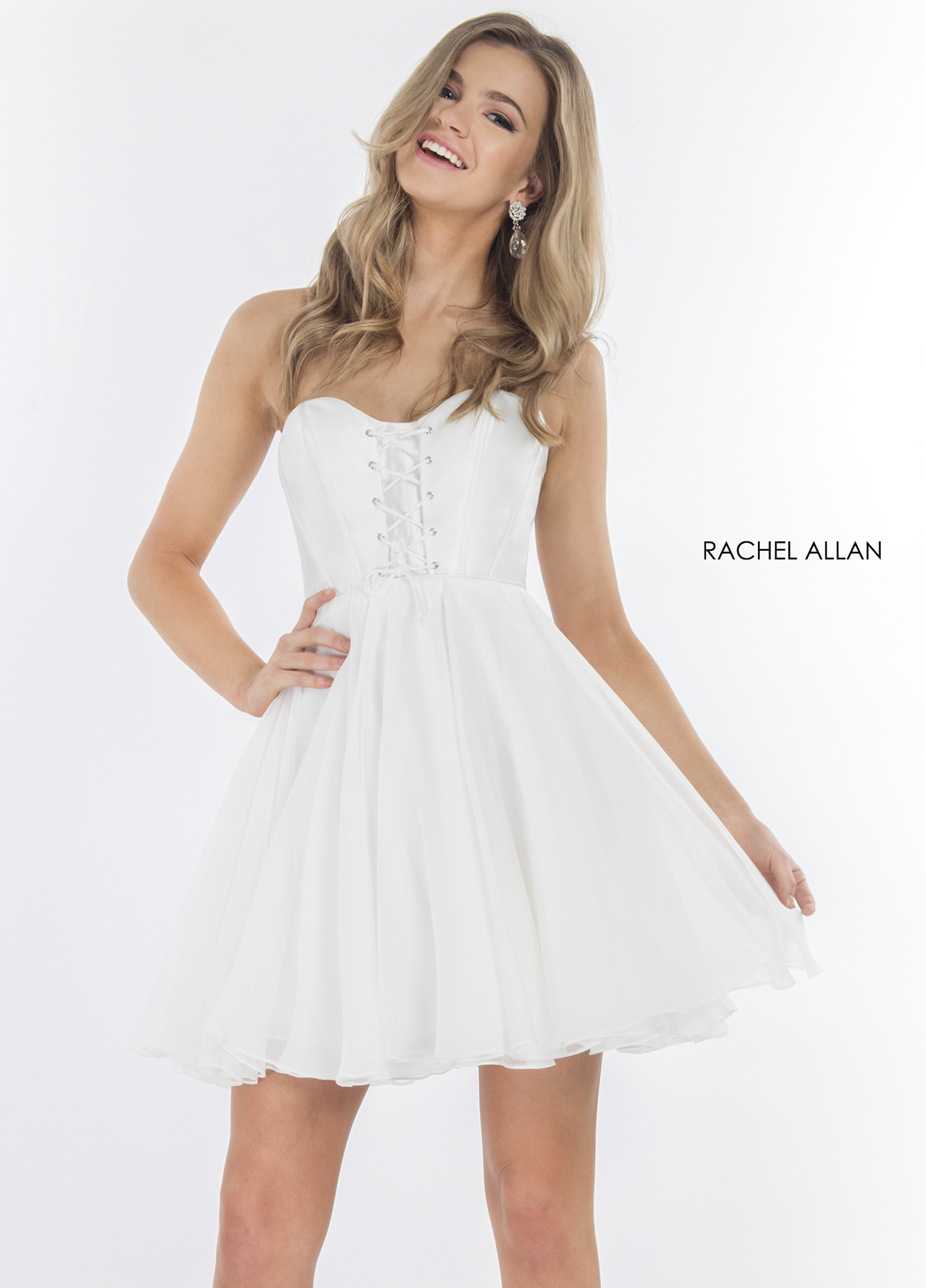 Strapless Fit & Flare Cocktail Dresses in White Color