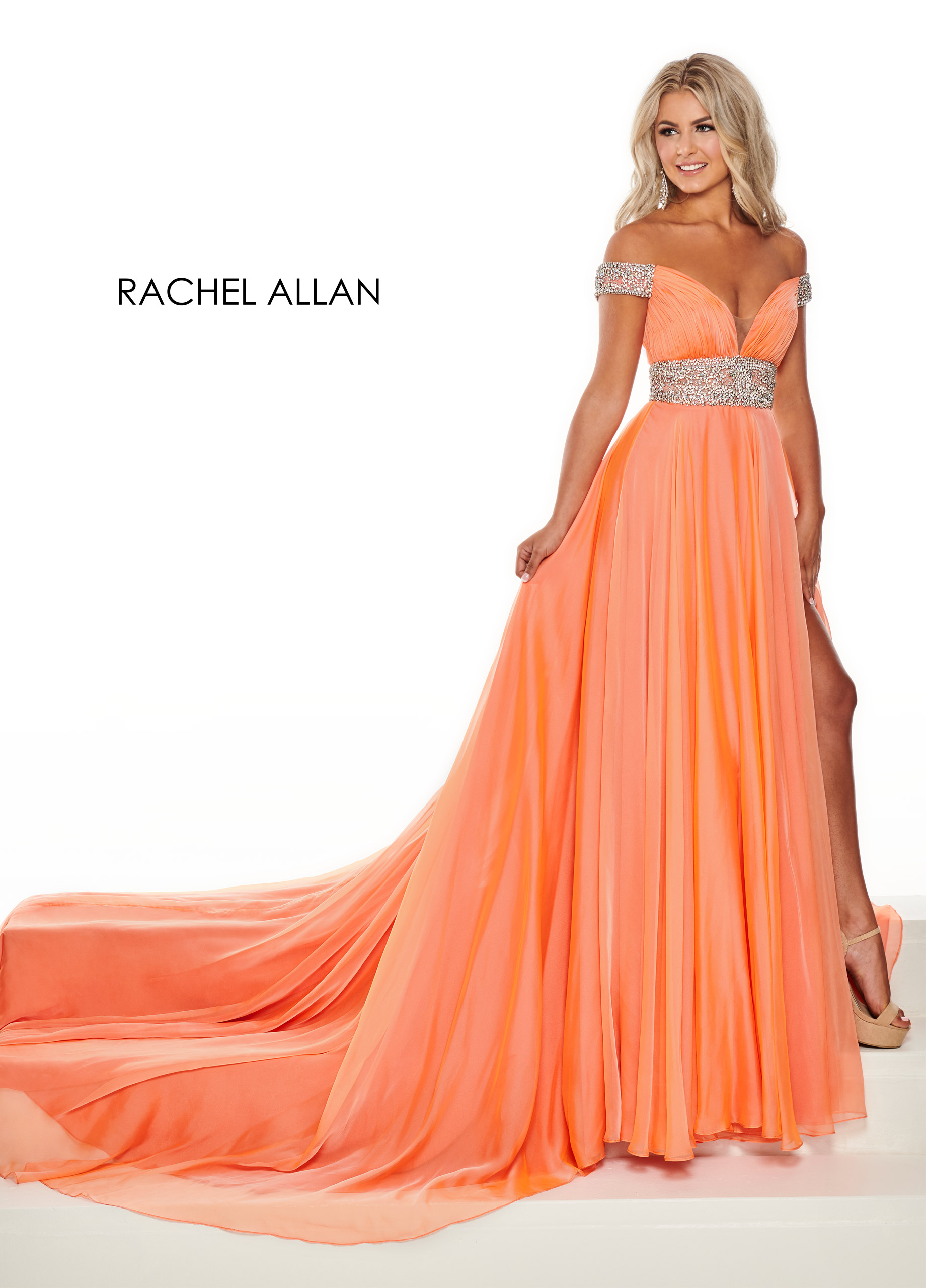 Off The Shoulder A-Line Pageant Dresses in Coral Color