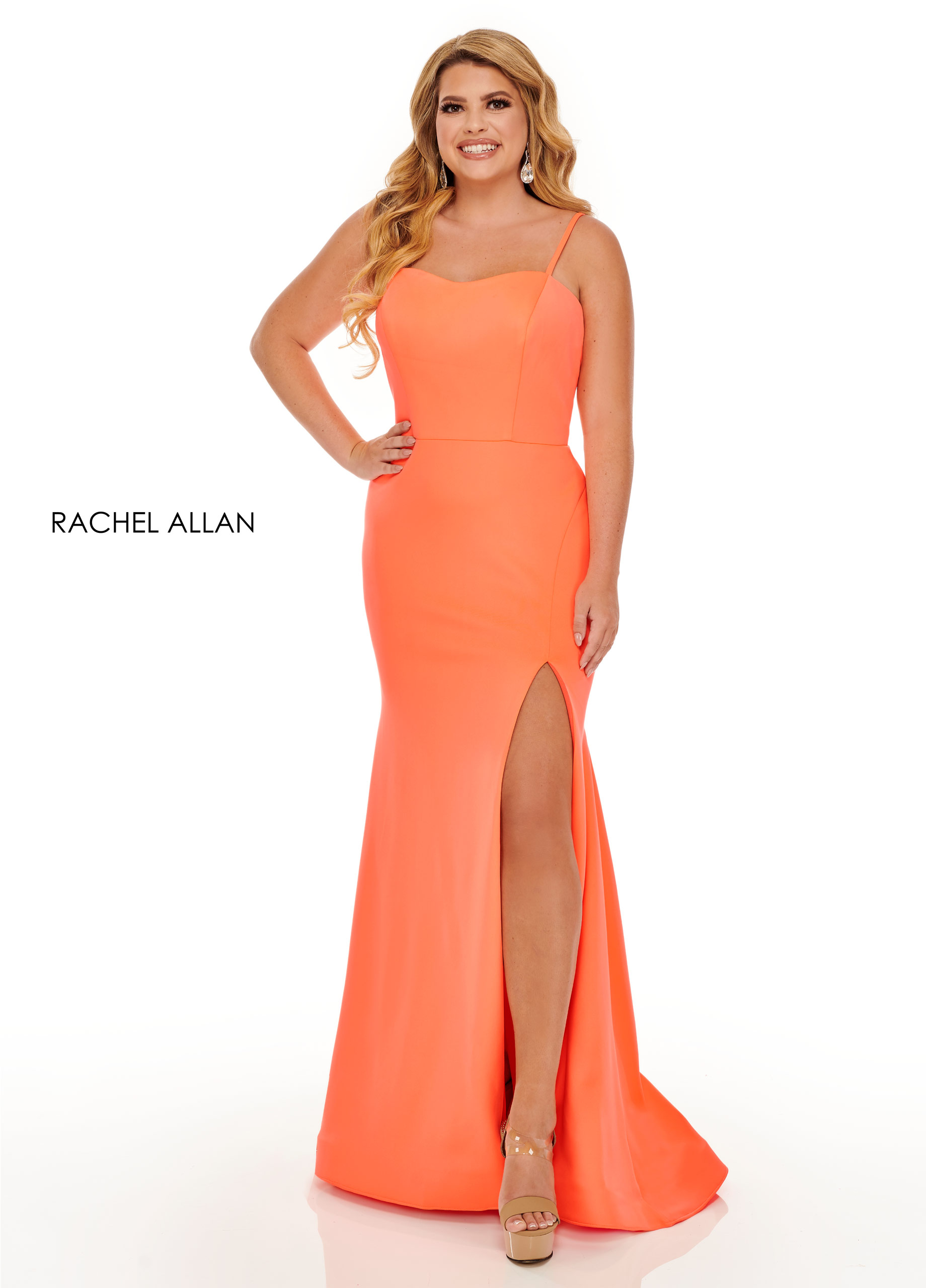 Strappy Fitted Long Plus Size Dresses in Orange Color