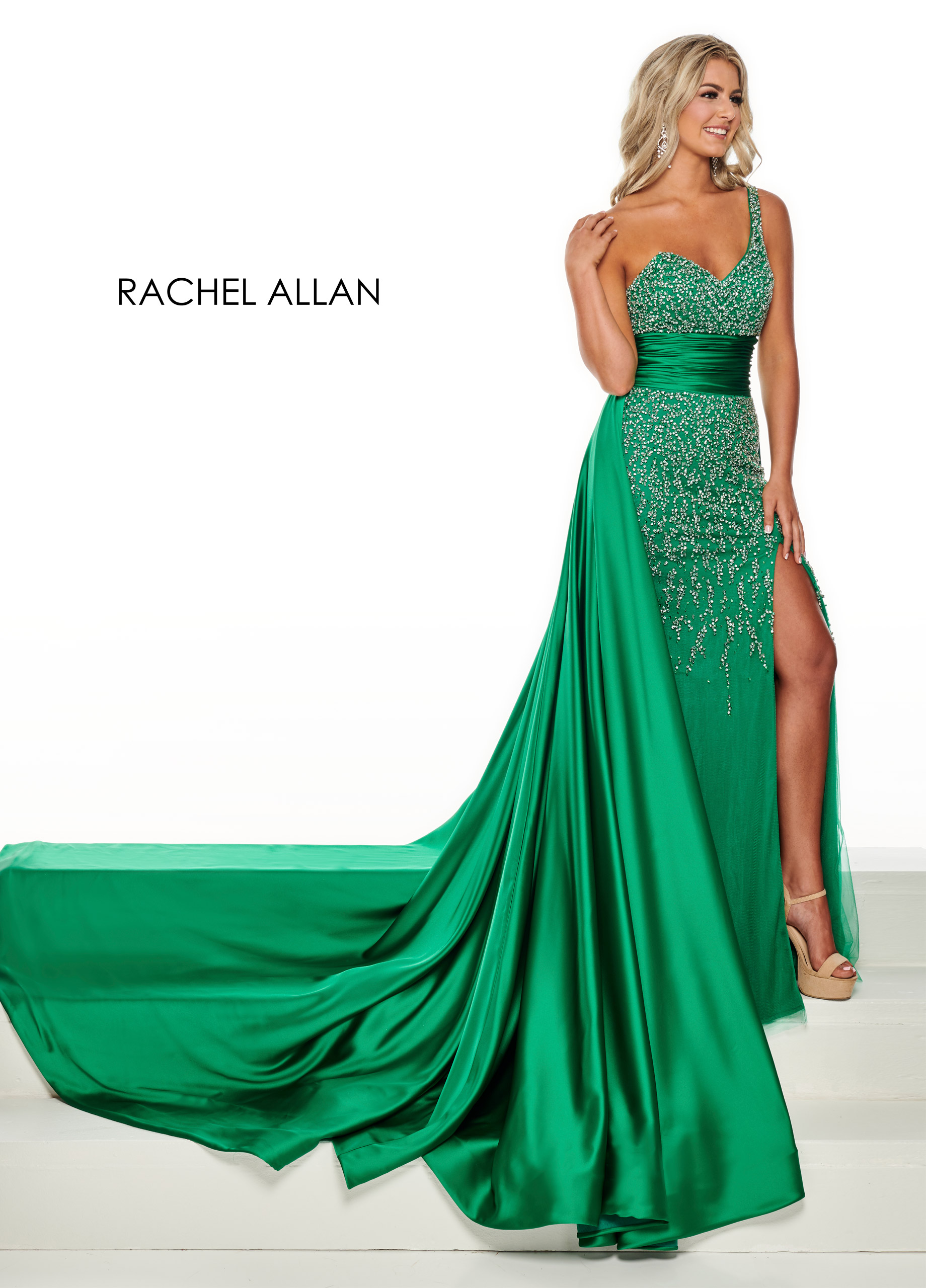 One Shoulder Skirt With Overlay Pageant Dresses in Emerald Color