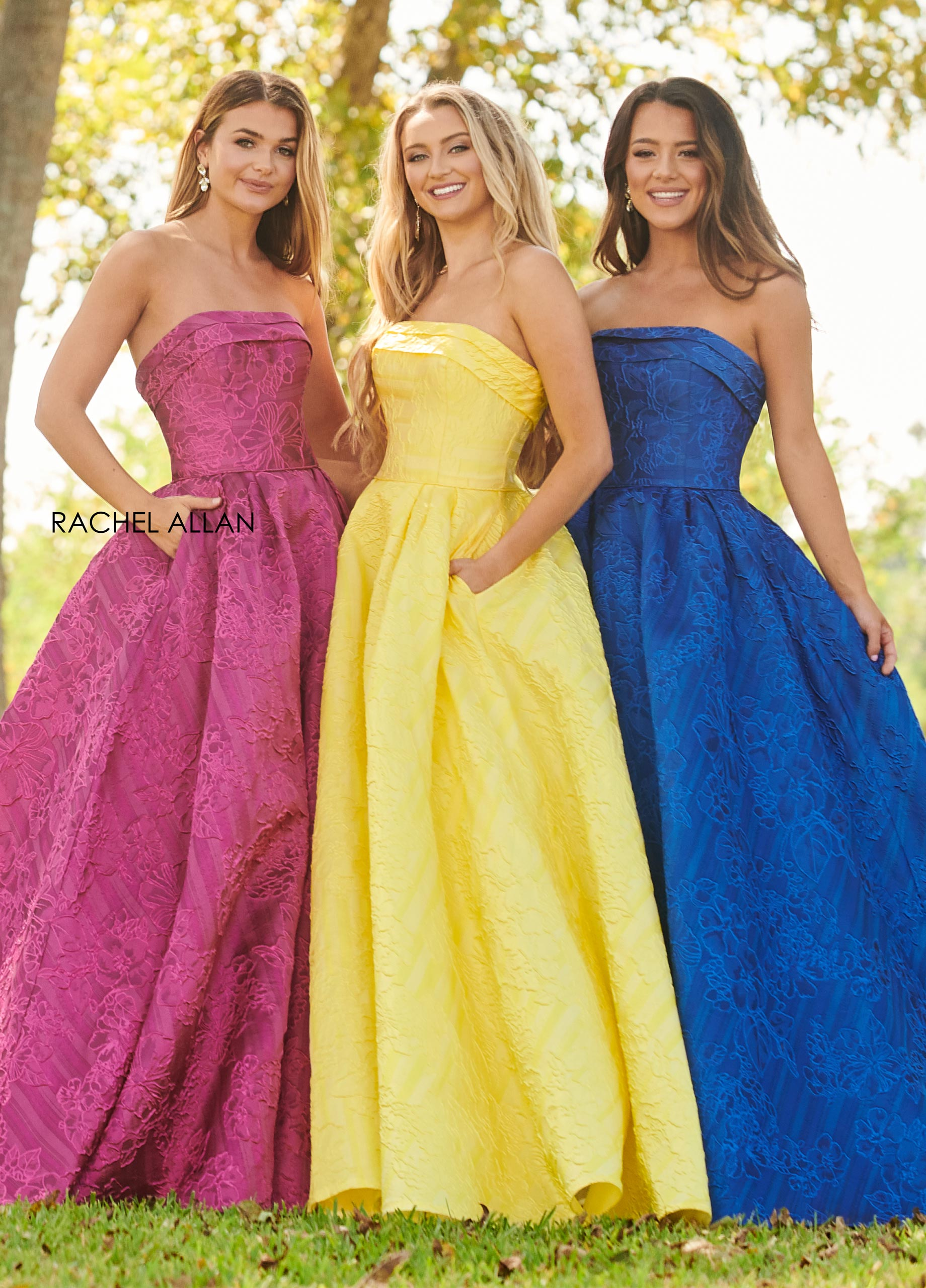Strapless Ball Gowns Prom Dresses in Fuchsia Color