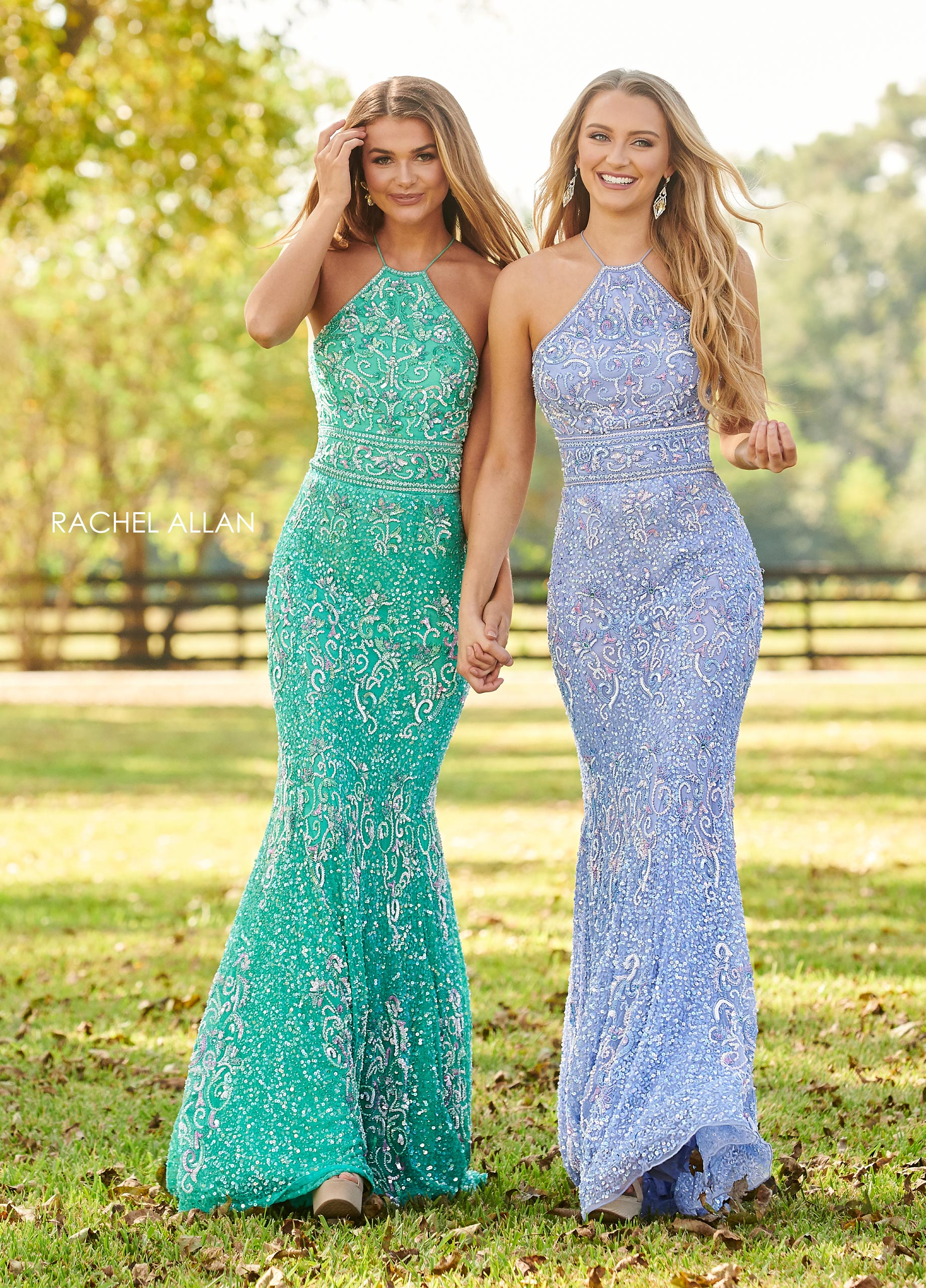 High Neckline Fitted Long Prom Dresses in Green Color