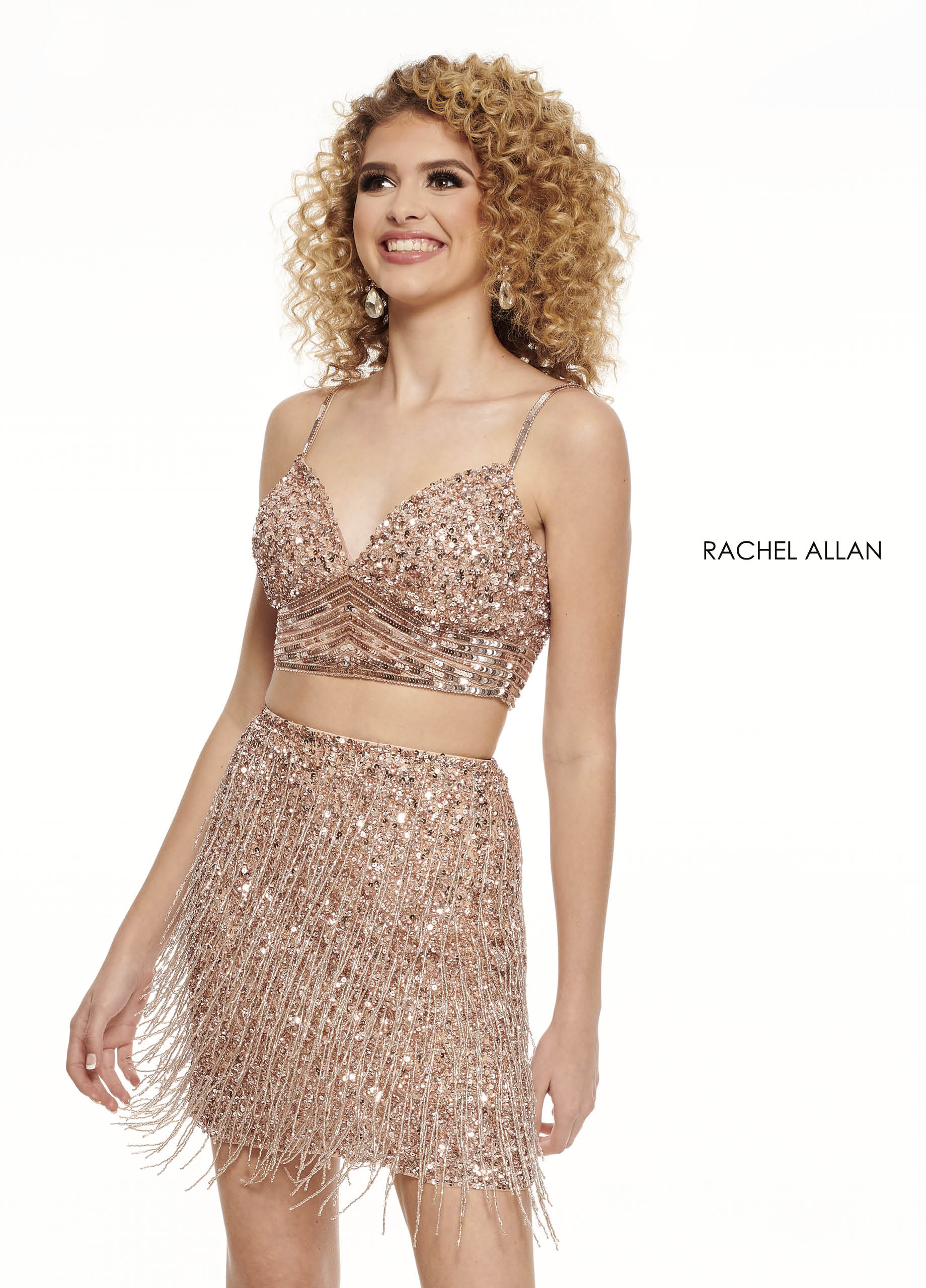 Strappy Two-Piece Homecoming Dresses in Gold Color