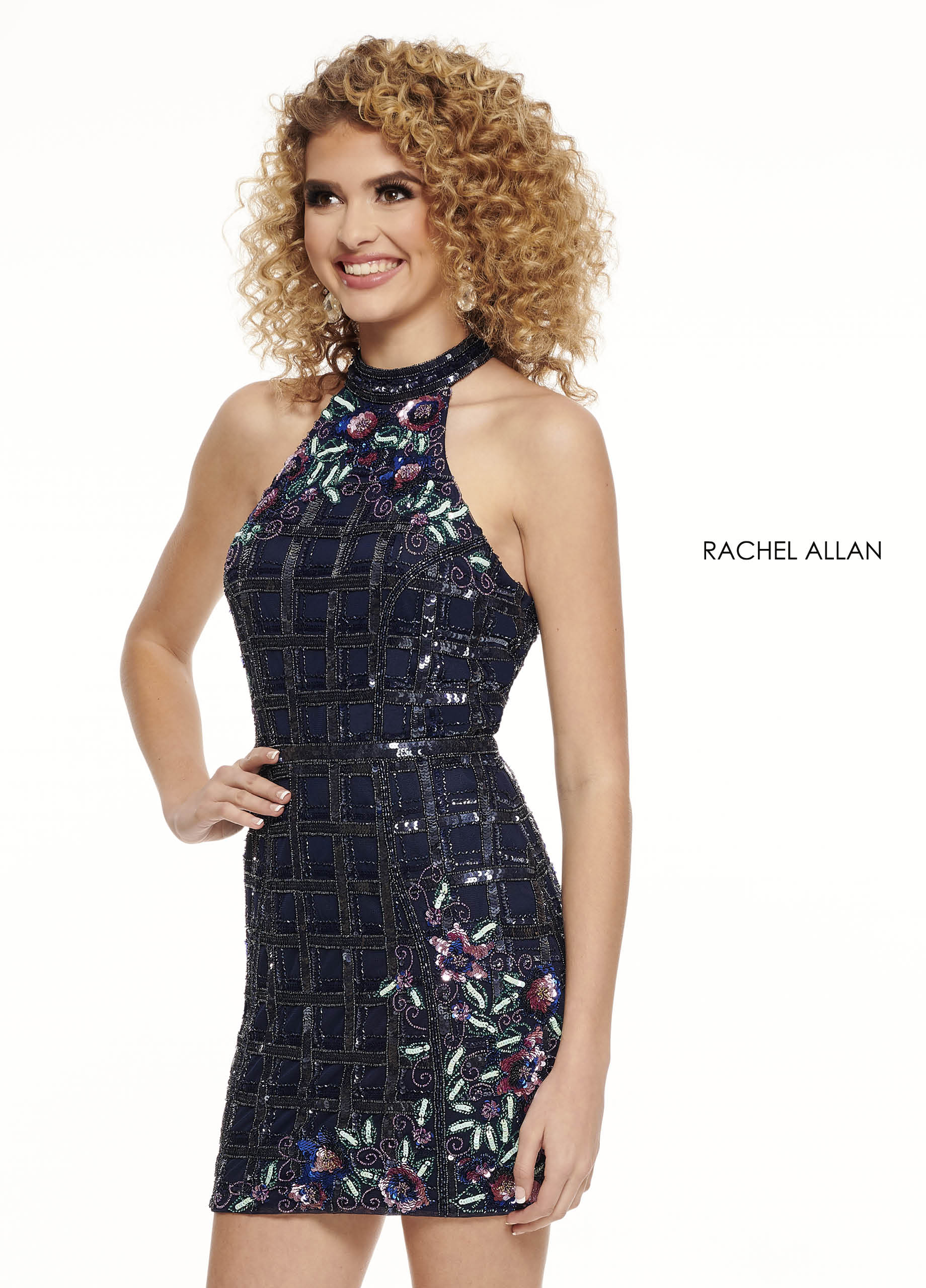 High Neckline Fitted Mini Homecoming Dresses in Navy Color