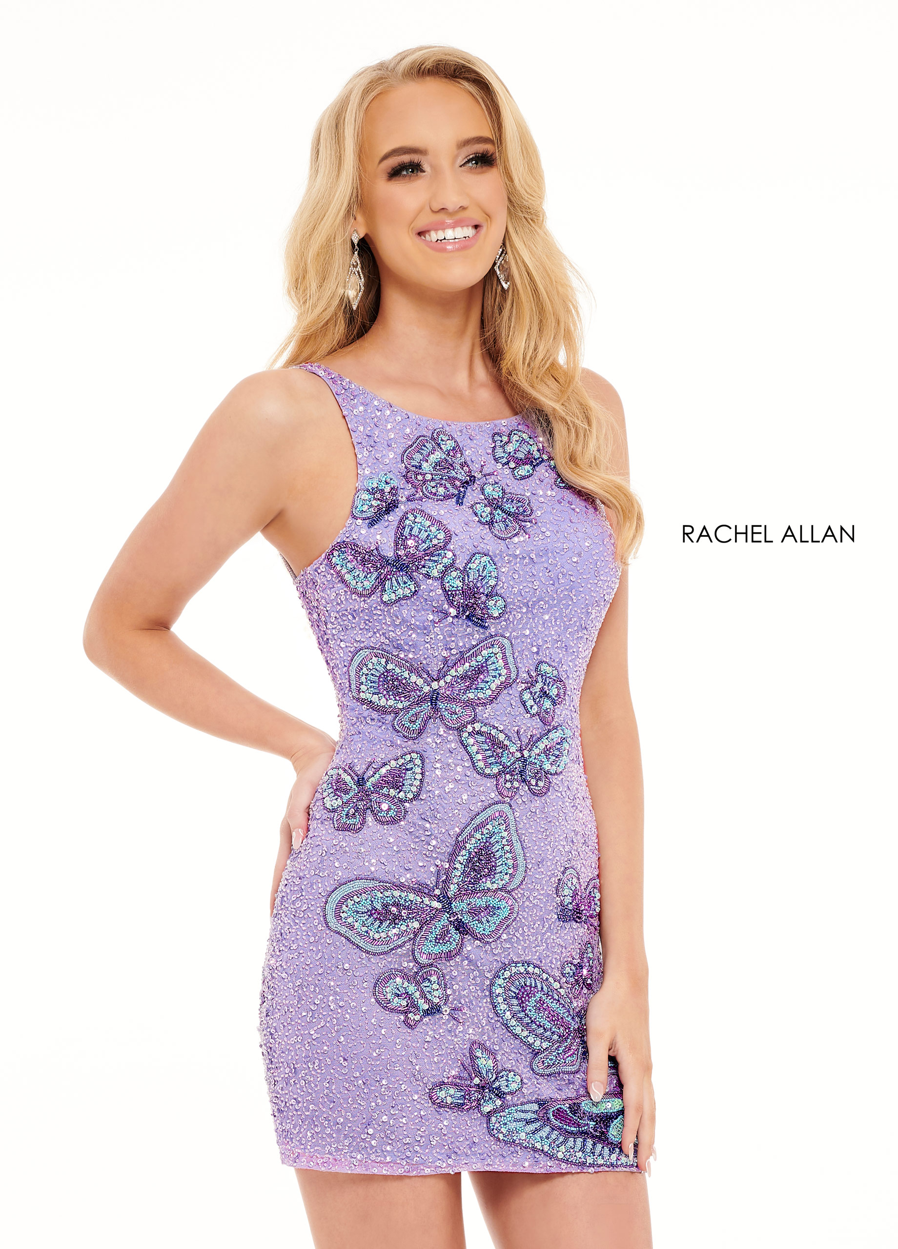 Beaded Fitted Mini Homecoming Dresses in Lilac Color
