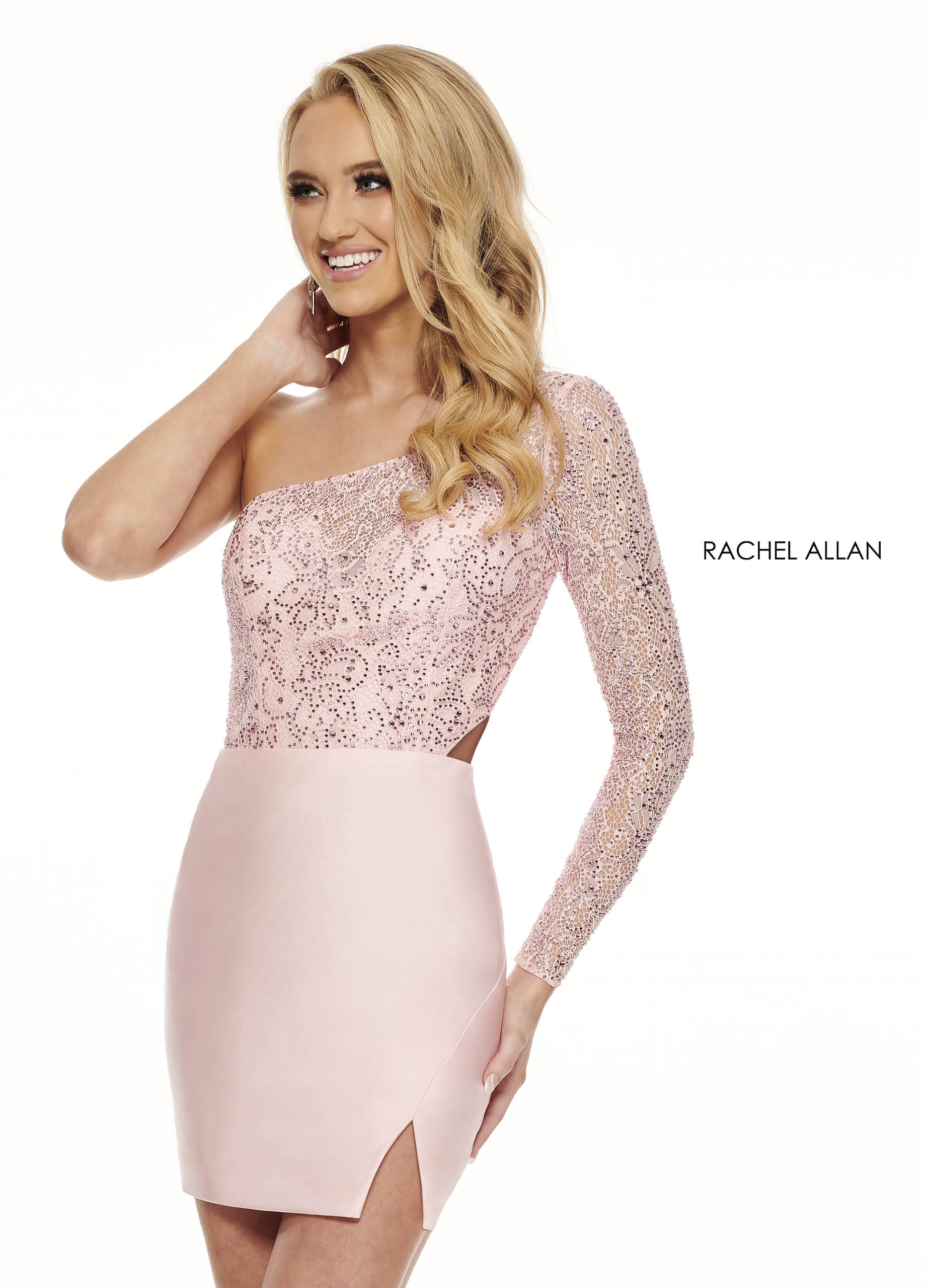 One Shoulder Fitted Mini Homecoming Dresses in Pink Color
