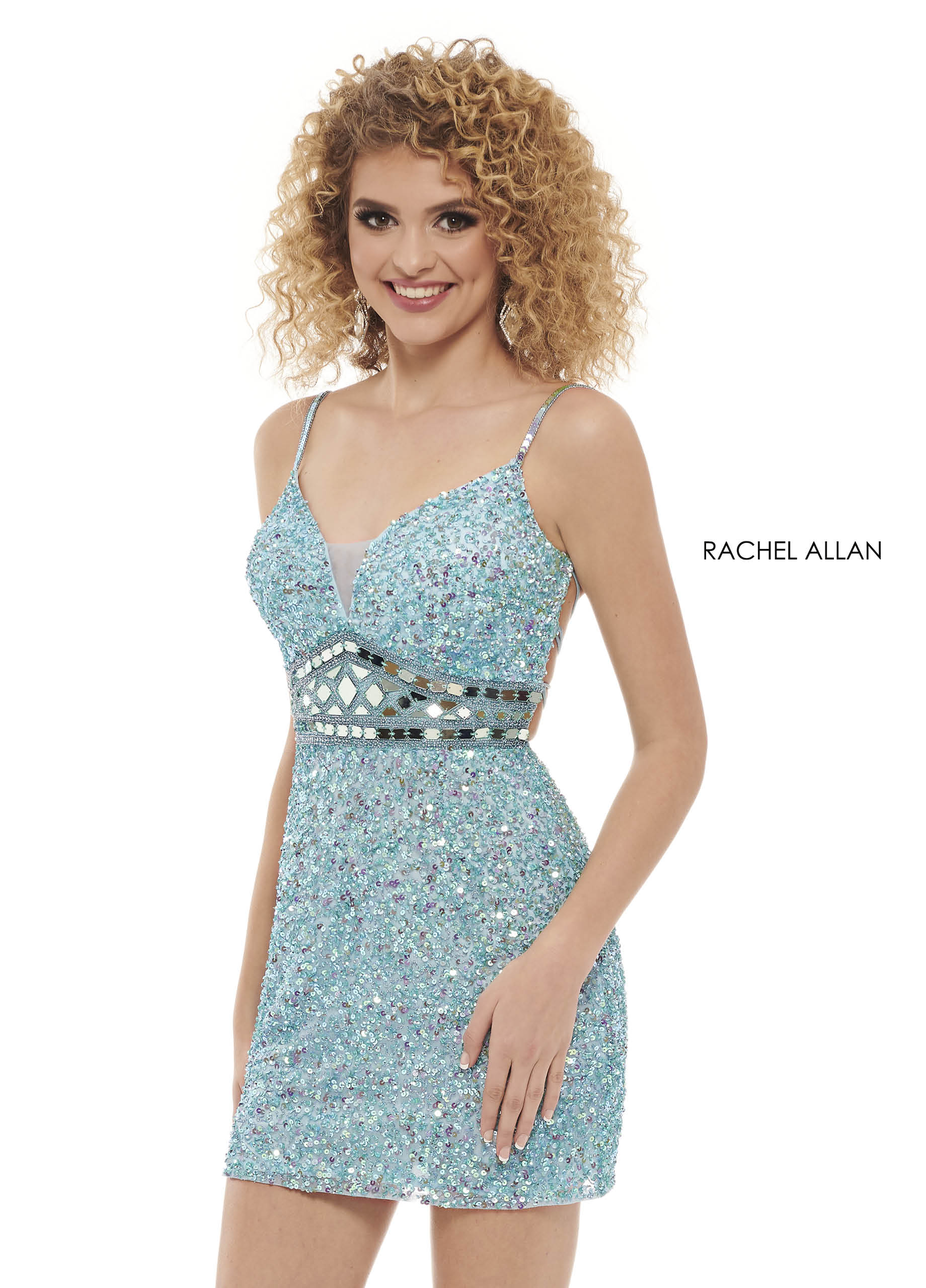 V-Neck Fitted Mini Homecoming Dresses in Aqua Color