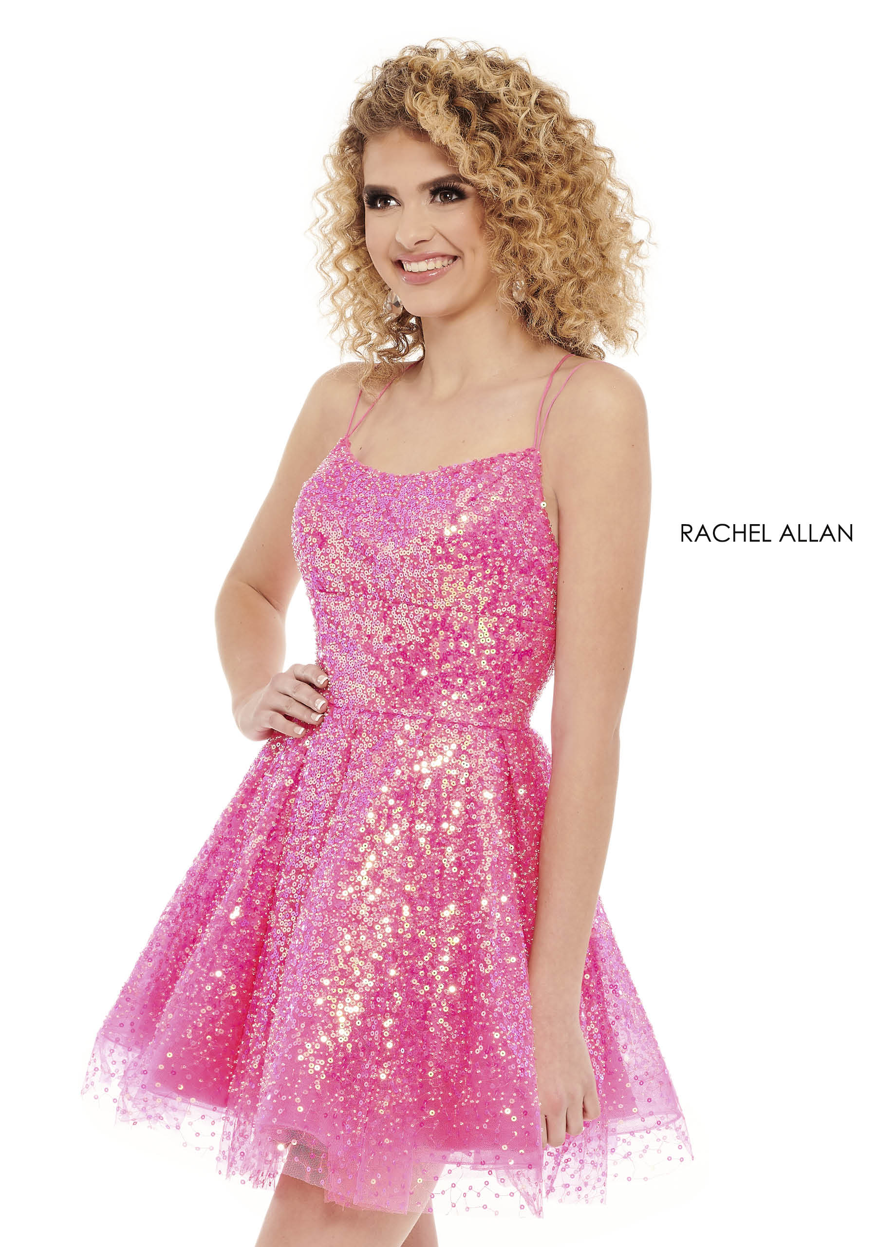 Strappy A-Line Homecoming Dresses in Pink Color