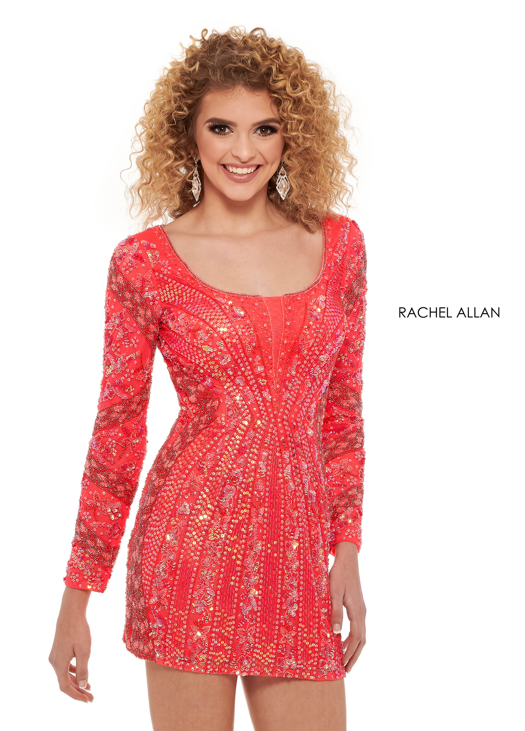 Scoop Neck Fitted Mini Homecoming Dresses in Coral Color