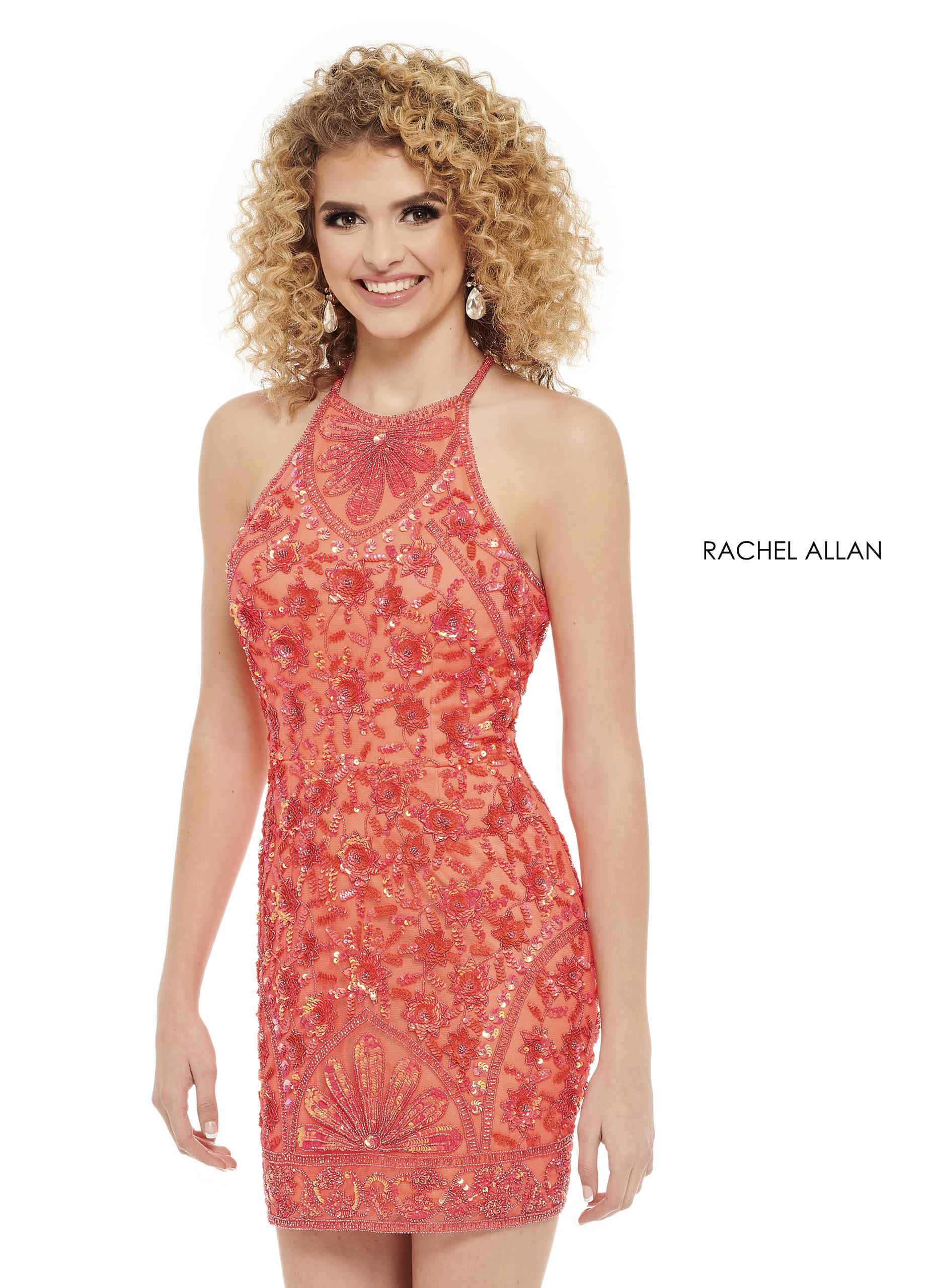 Beaded Fitted Mini Homecoming Dresses in Coral Color