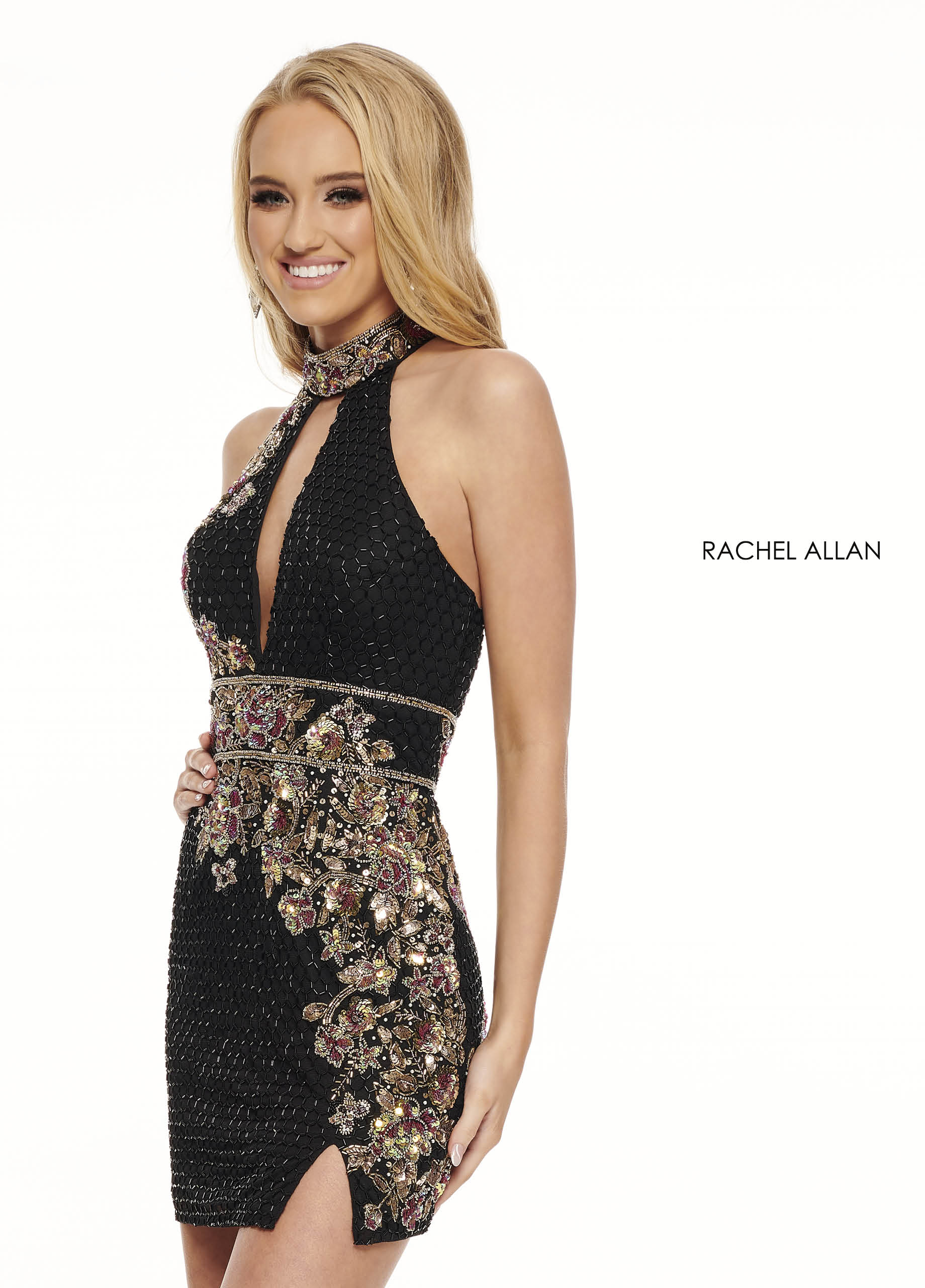 High Neckline Fitted Mini Homecoming Dresses in Black Color
