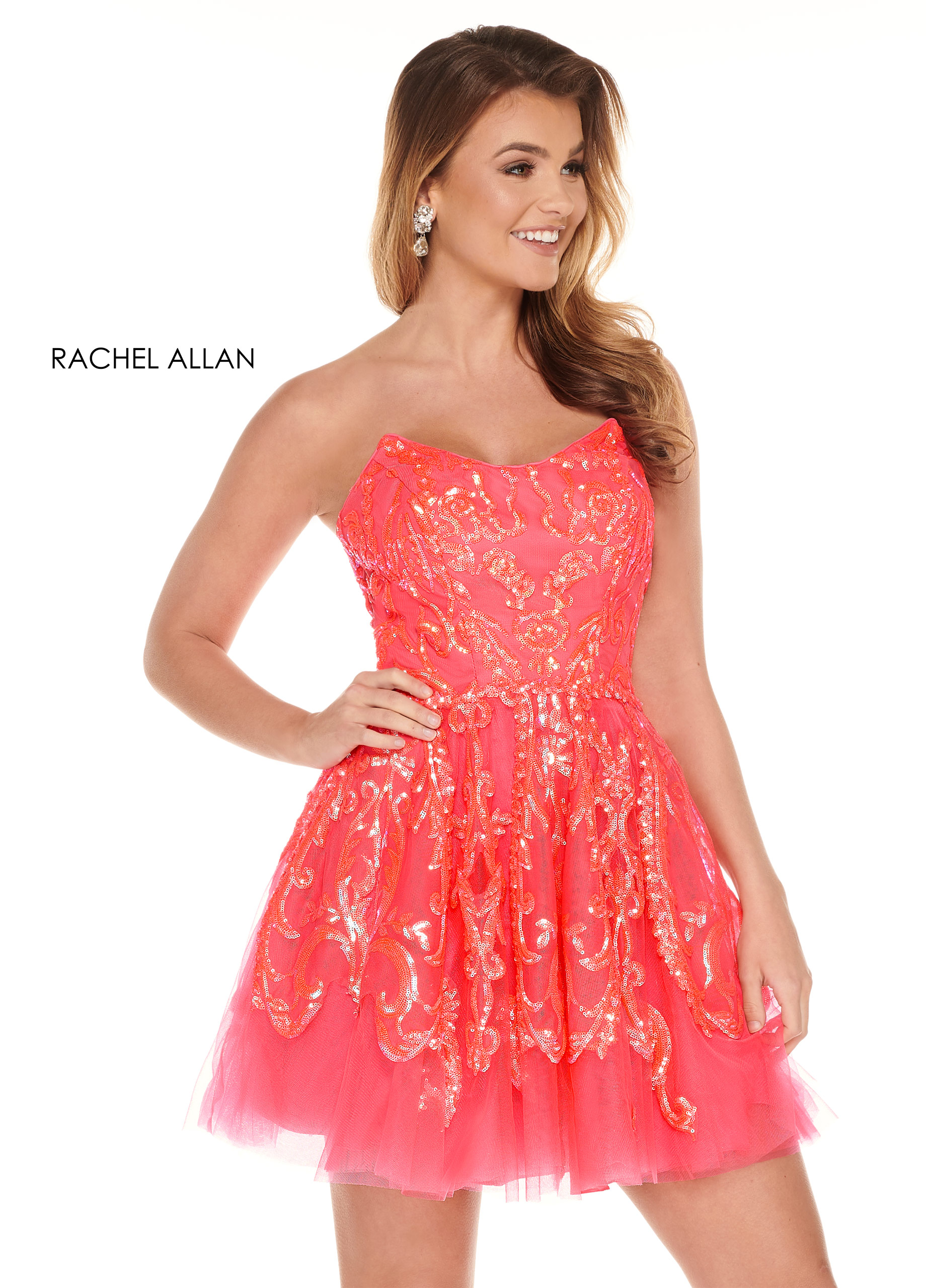 Strapless Full Skirt Mini Homecoming Dresses in Coral Color