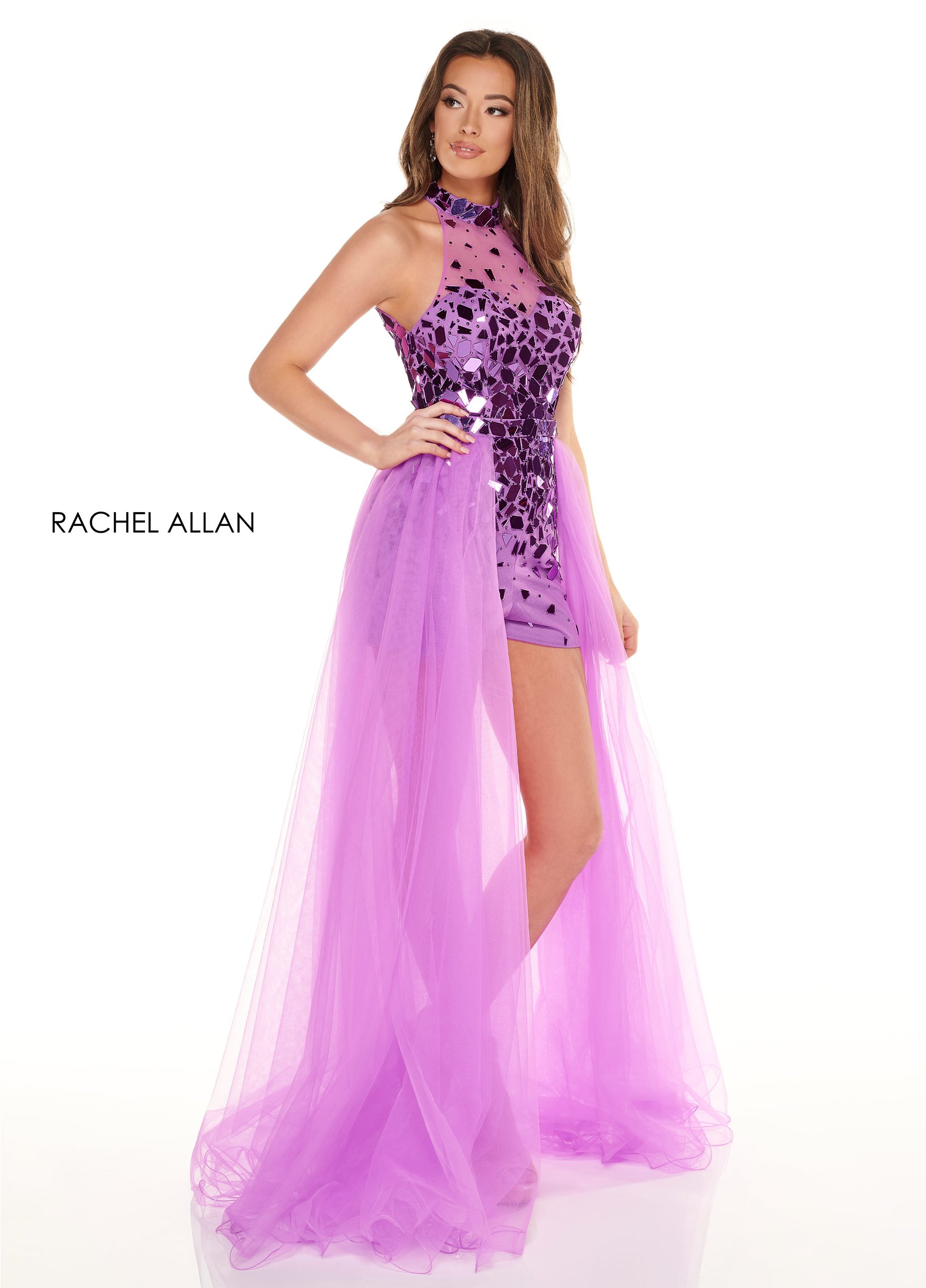 High Neckline Romper Prom Dresses in Purple Color