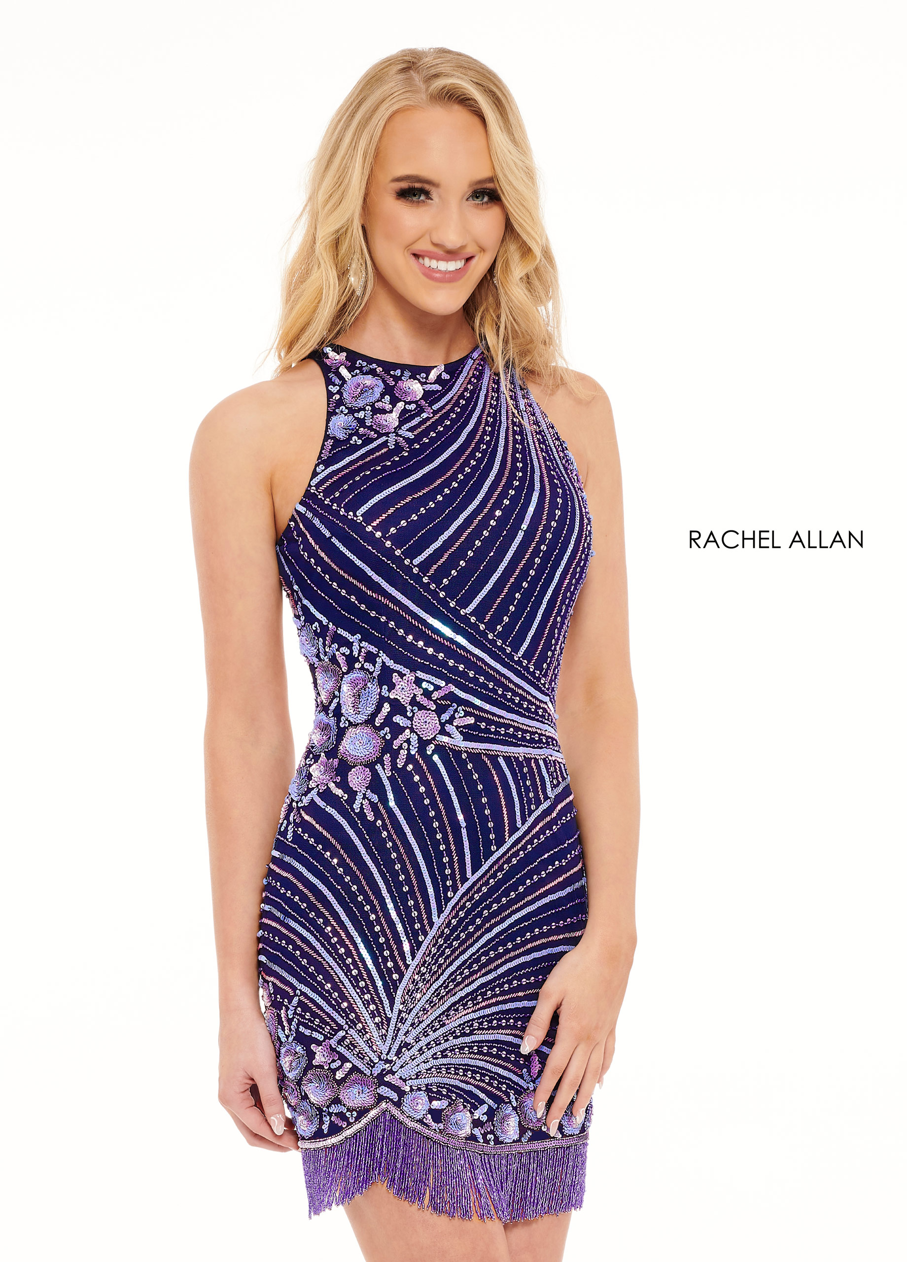 High Neckline Fitted Mini Homecoming Dresses in Purple Color