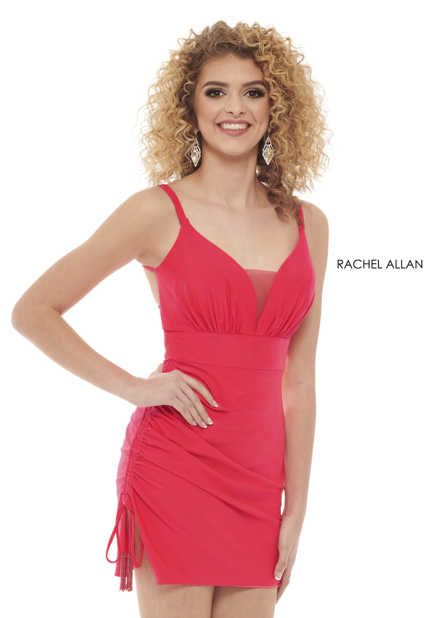V-Neck Fitted Mini Homecoming Dresses in Fuchsia Color