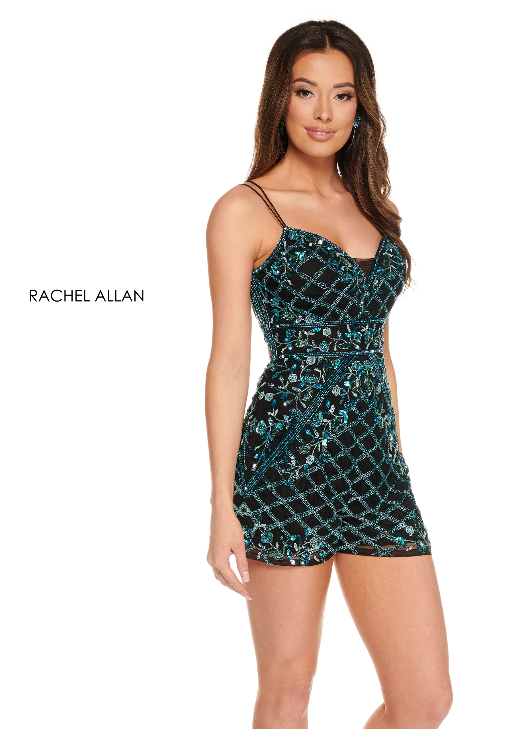 V-Neck Romper Homecoming Dresses in Turquoise Color