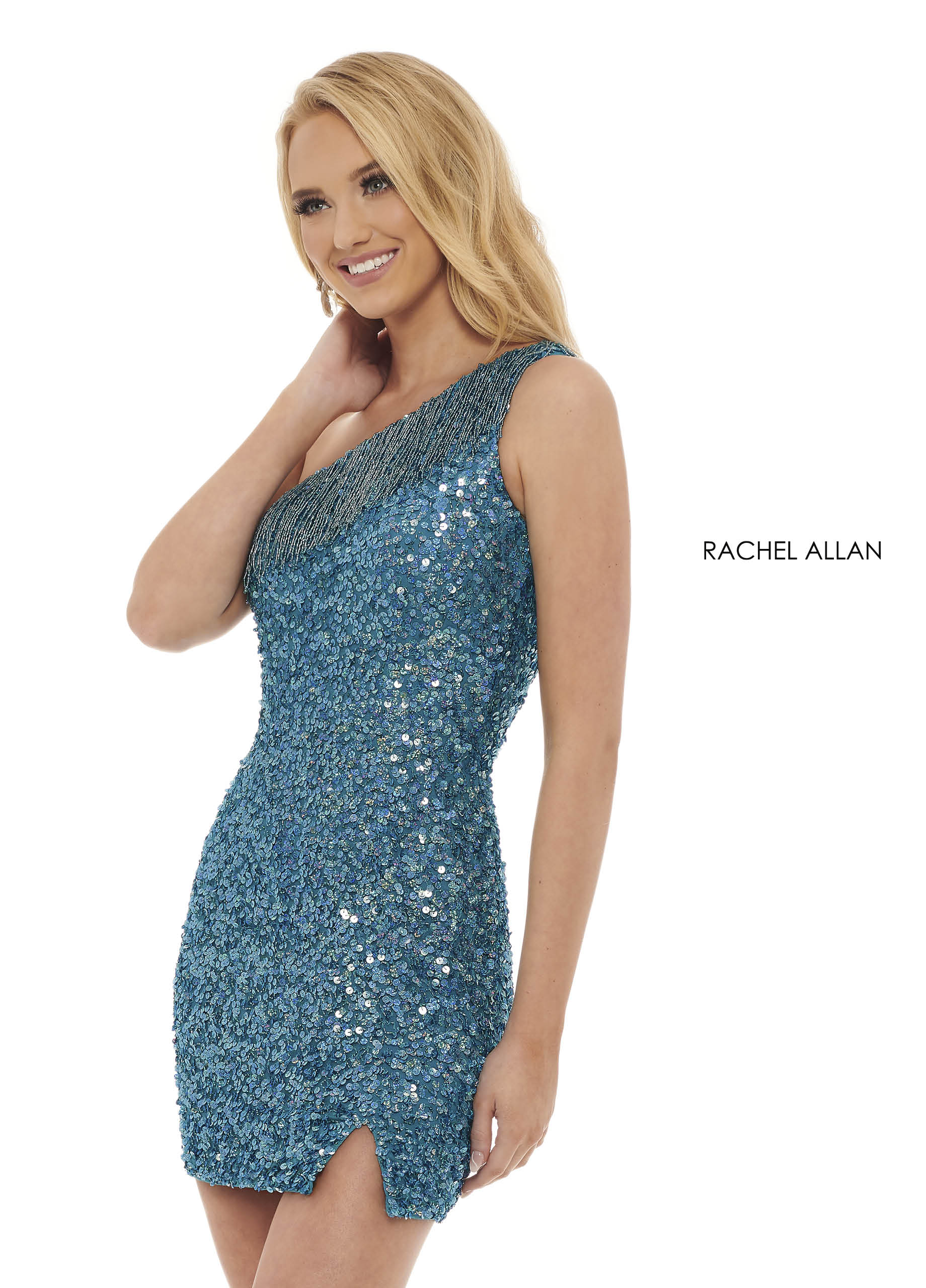 One Shoulder Fitted Mini Homecoming Dresses in Turquoise Color