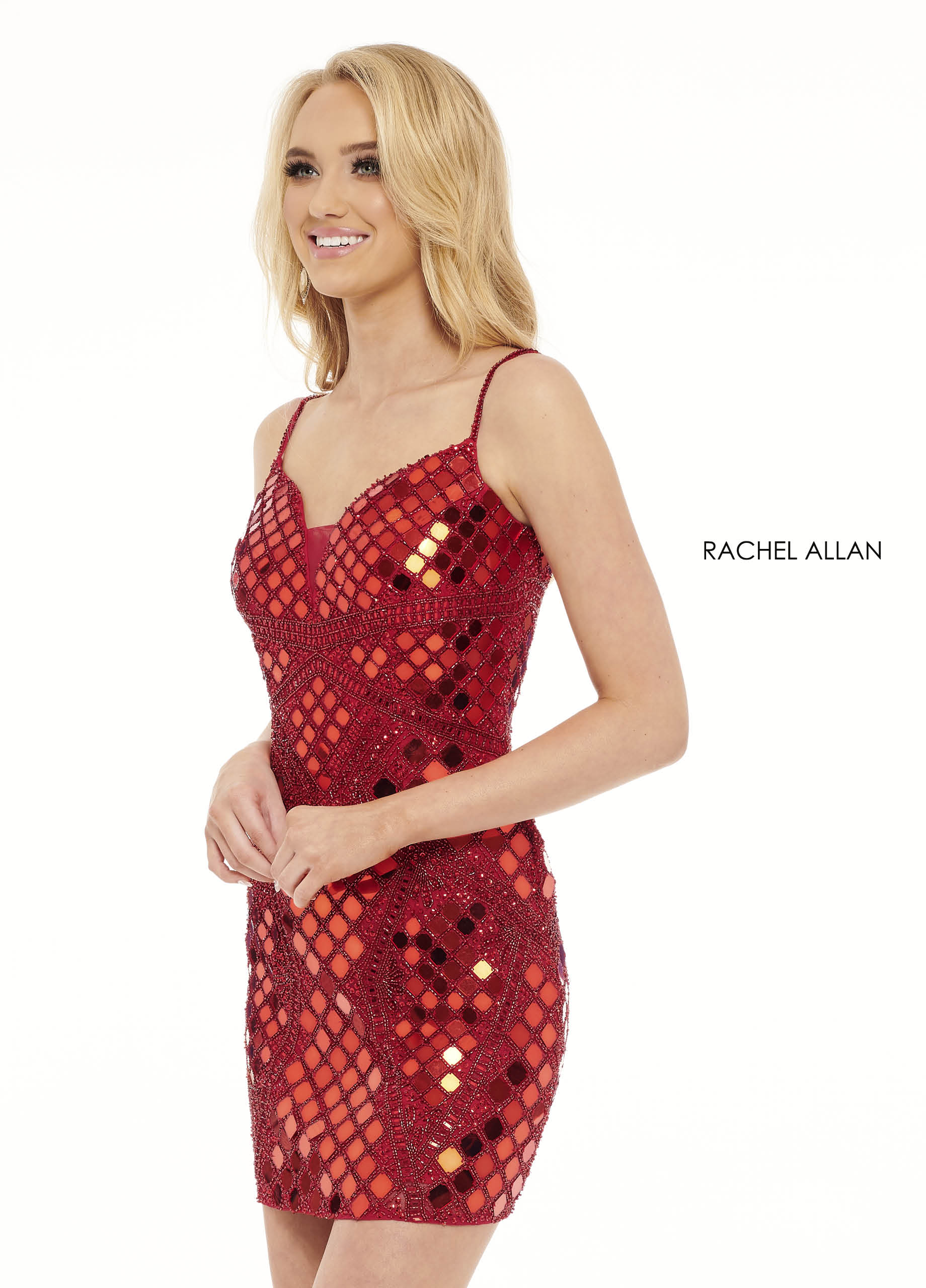 Strappy Fitted Mini Homecoming Dresses in Red Color
