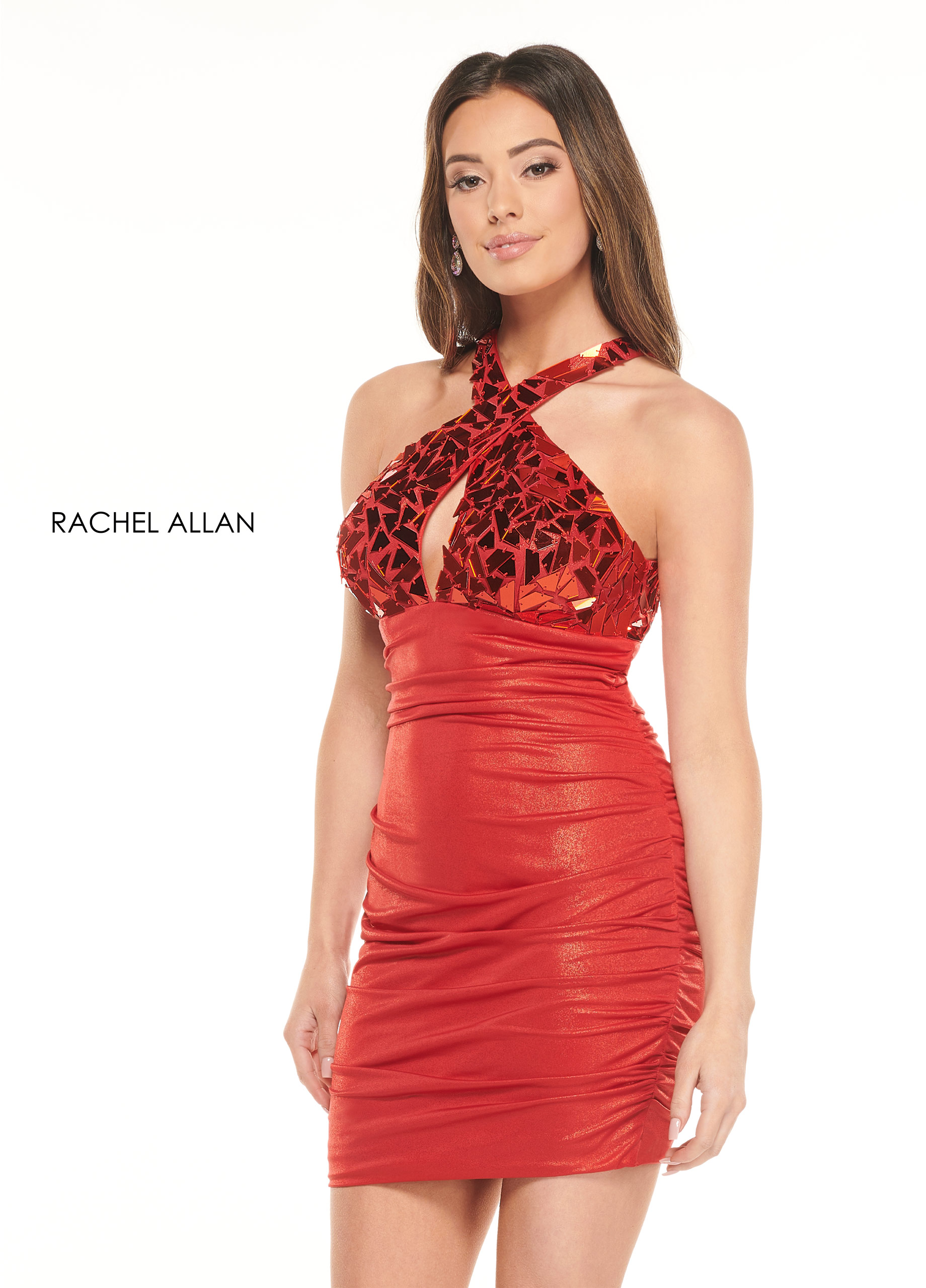 High Neckline Fitted Mini Homecoming Dresses in Red Color