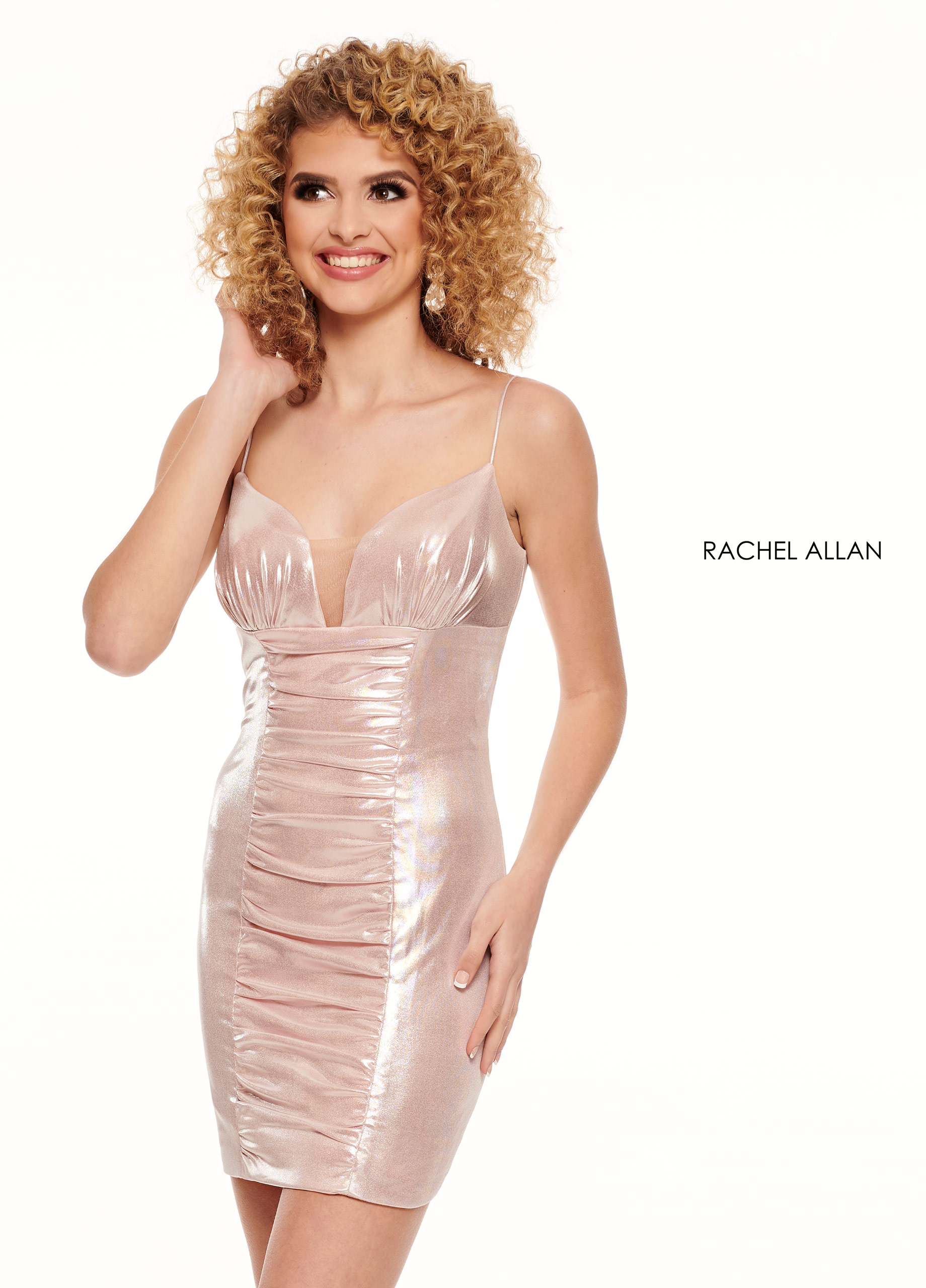 Strappy Fitted Mini Homecoming Dresses in Blush Color