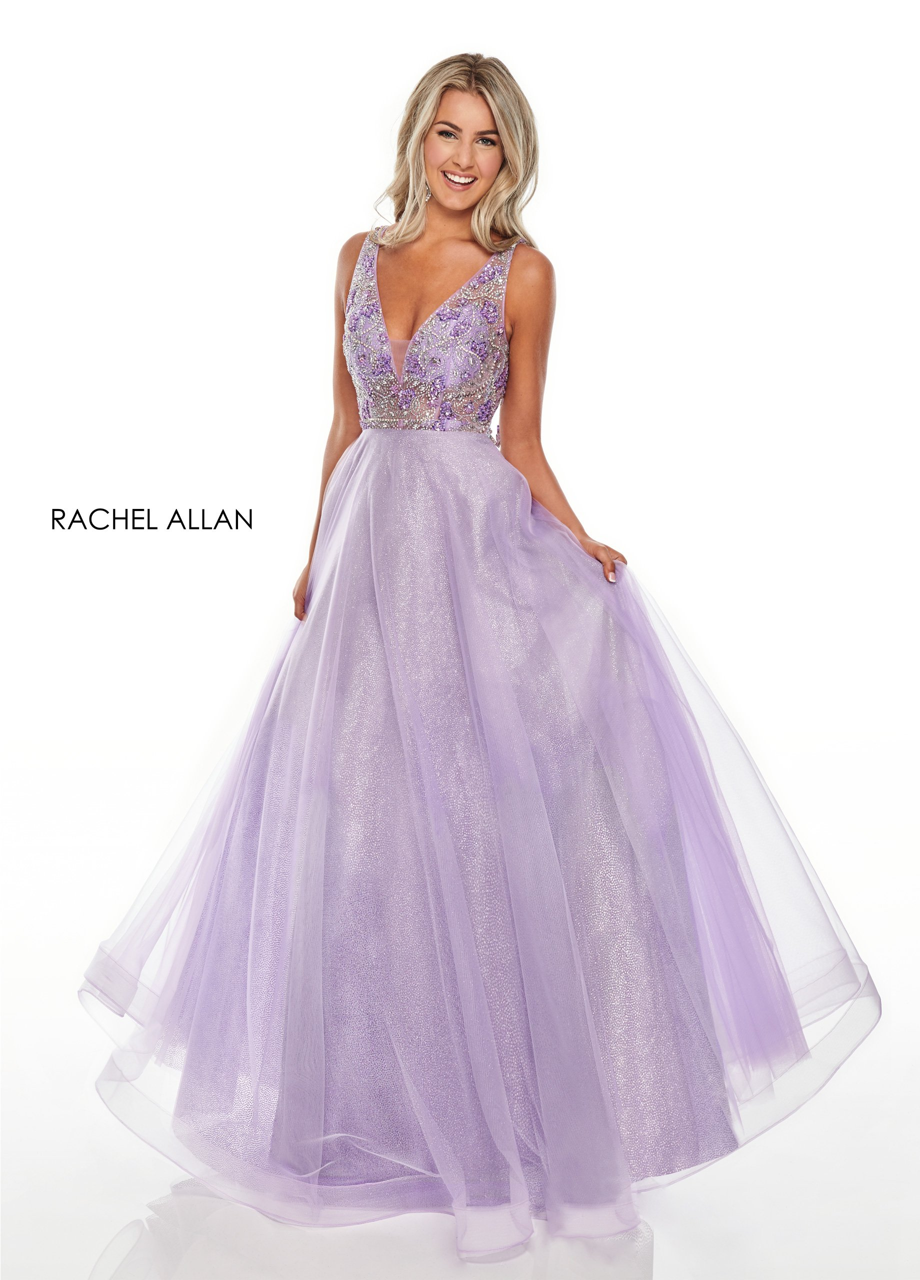 V-Neck A-Line Prom Dresses in Lilac Color
