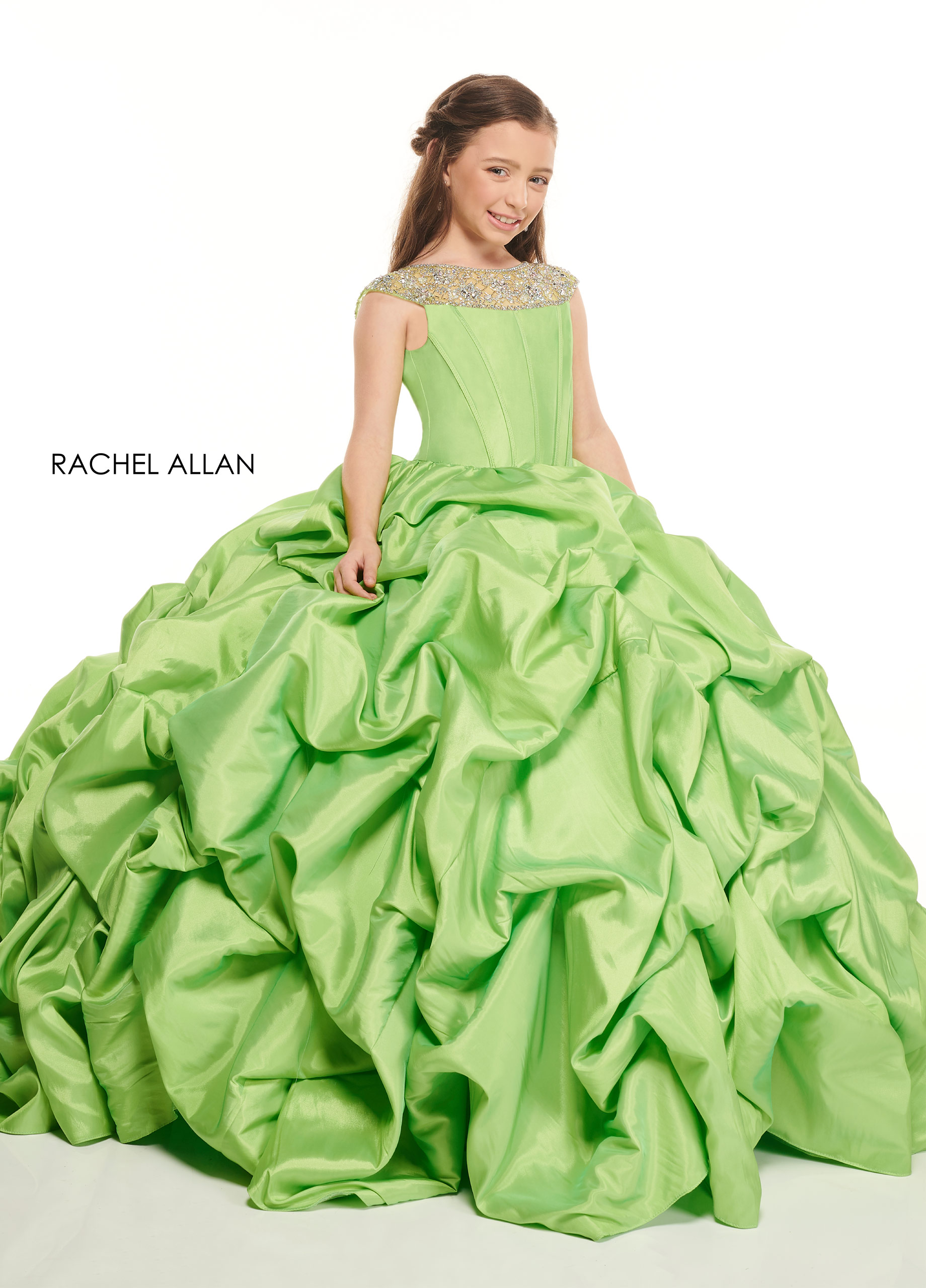 Beaded Ball Gowns Little Girl Pageant Dresses in Green Color