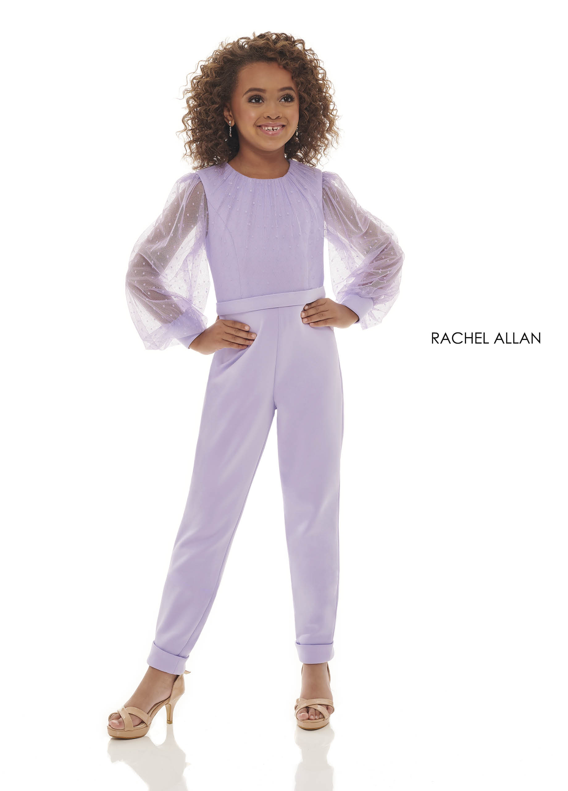 High Neckline Jumpsuit Little Girl Pageant Dresses in Lilac Color