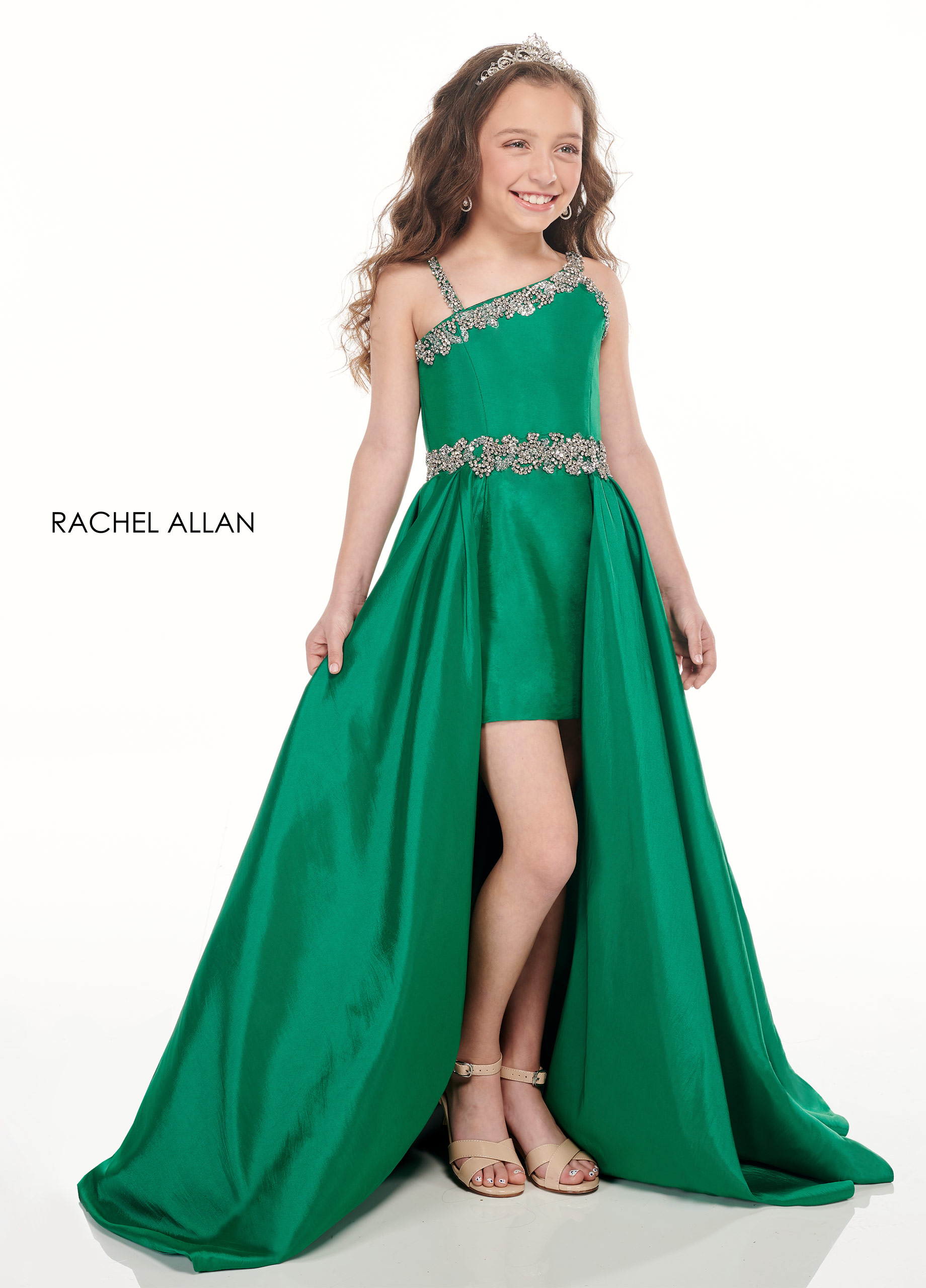Beaded Skirt With Overlay Little Girl Pageant Dresses in Emerald Color