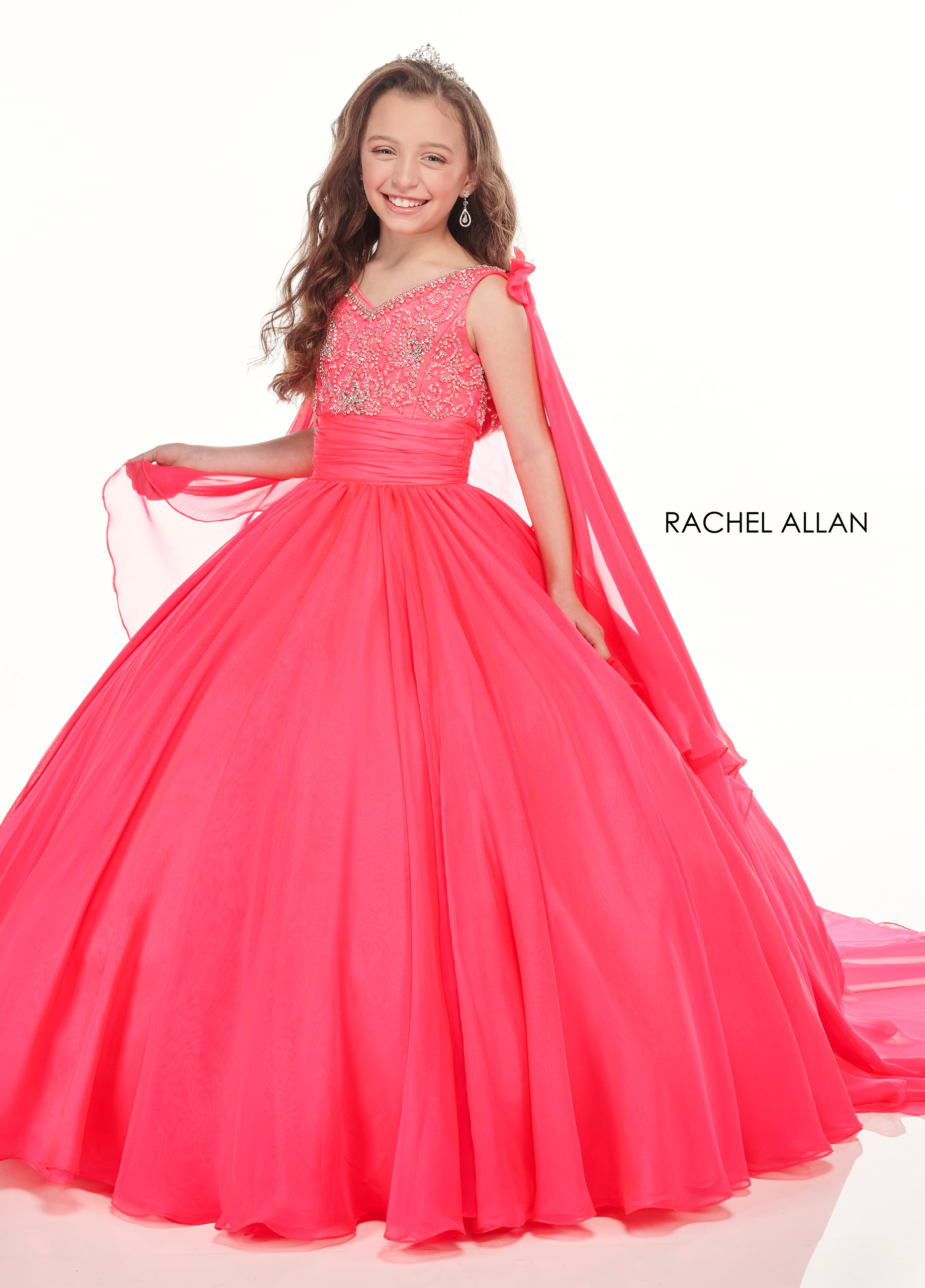 V-Neck Ball Gowns Little Girl Pageant Dresses in Pink Color