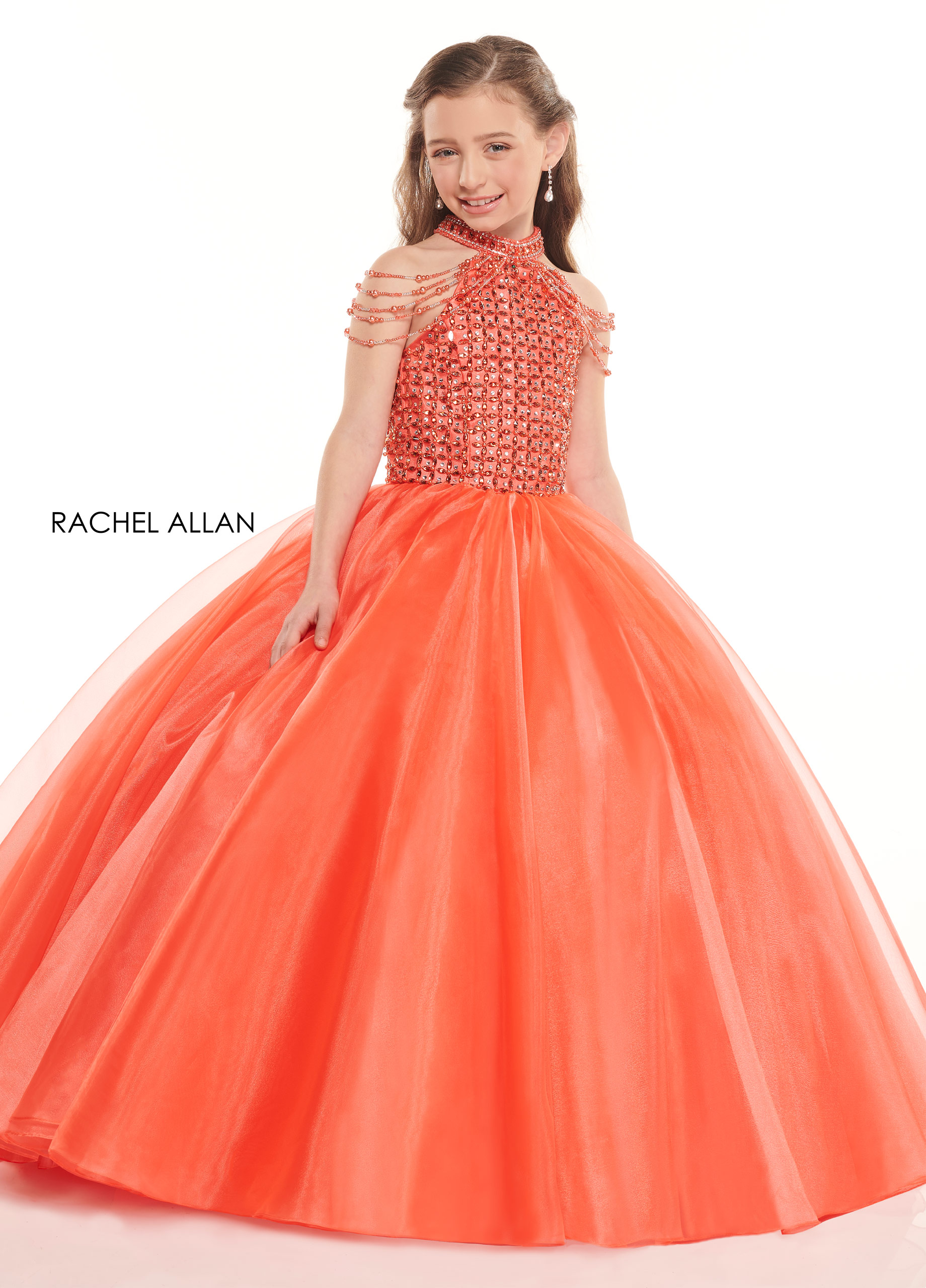 Beaded Ball Gowns Little Girl Pageant Dresses in Orange Color