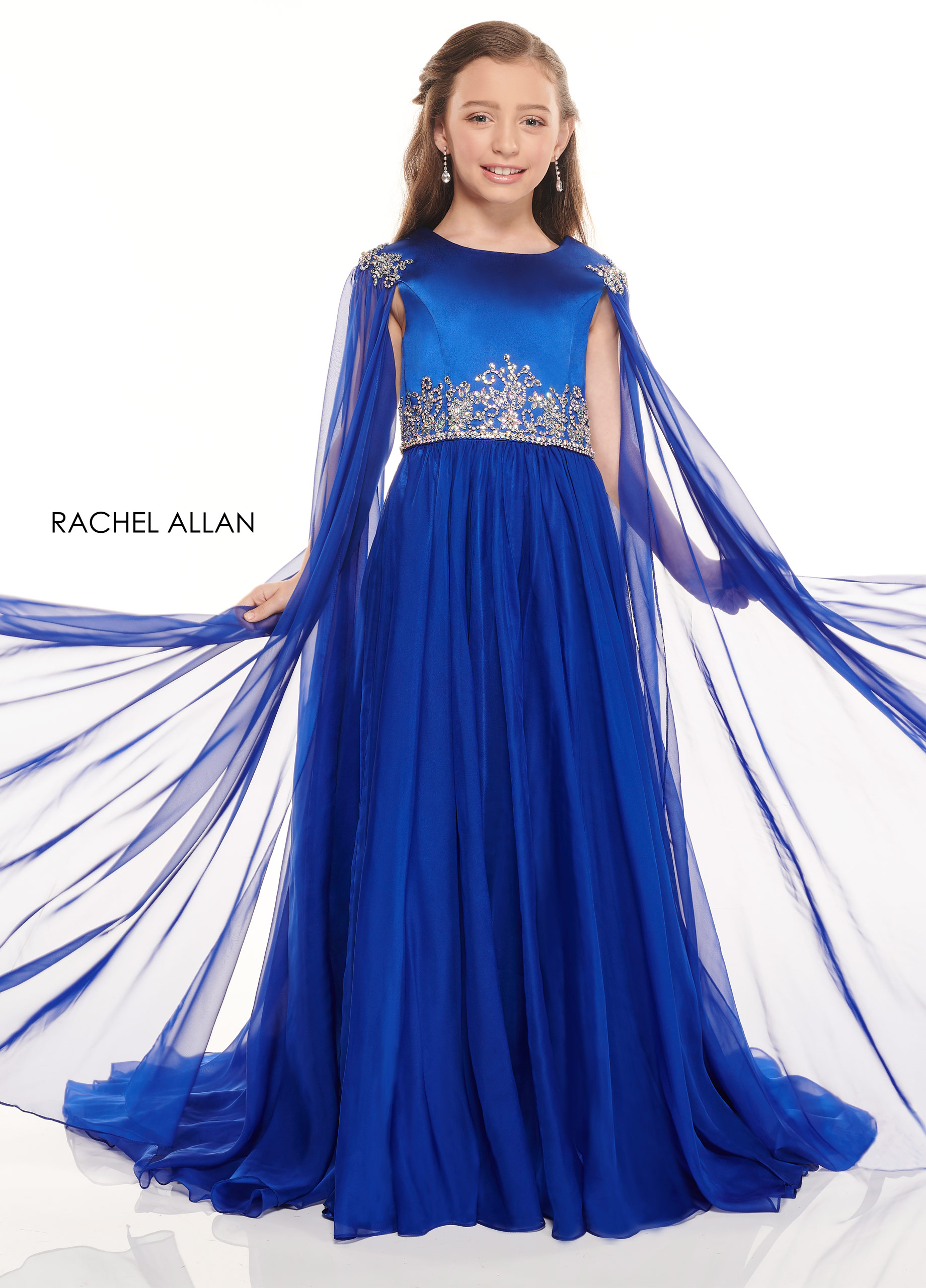 High Neckline A-Line Little Girl Pageant in Royal Color