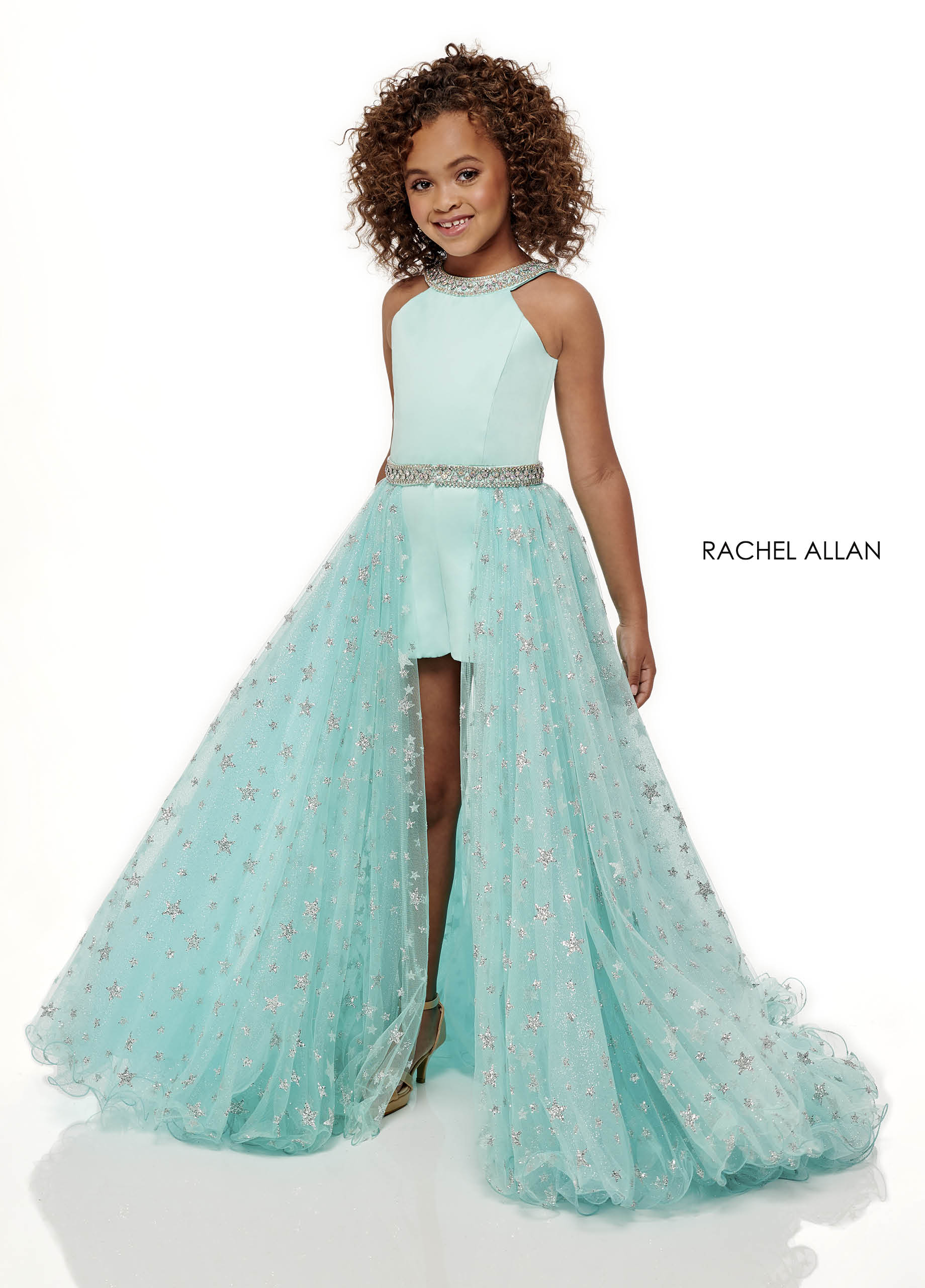 Beaded Shorts With Overlay Little Girl Pageant Dresses in Aqua Color