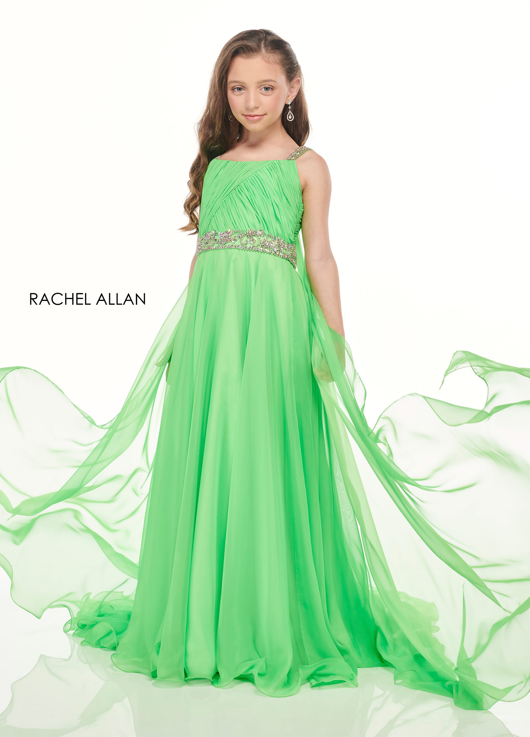 Scoop Neck A-Line Little Girl Pageant Dresses in Green Color