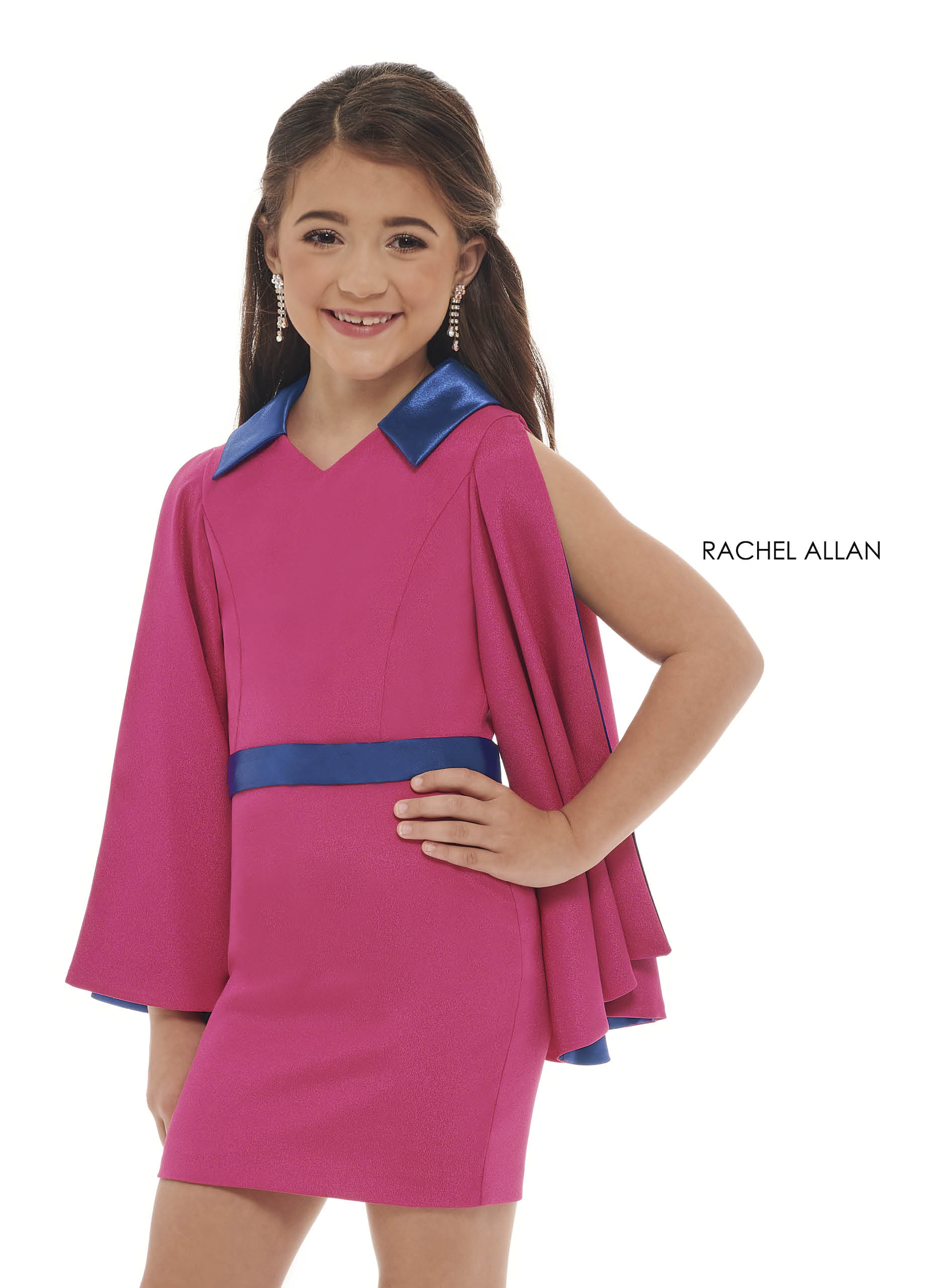 V-Neck Fitted Mini Little Girl Pageant Dresses in Fuchsia Color