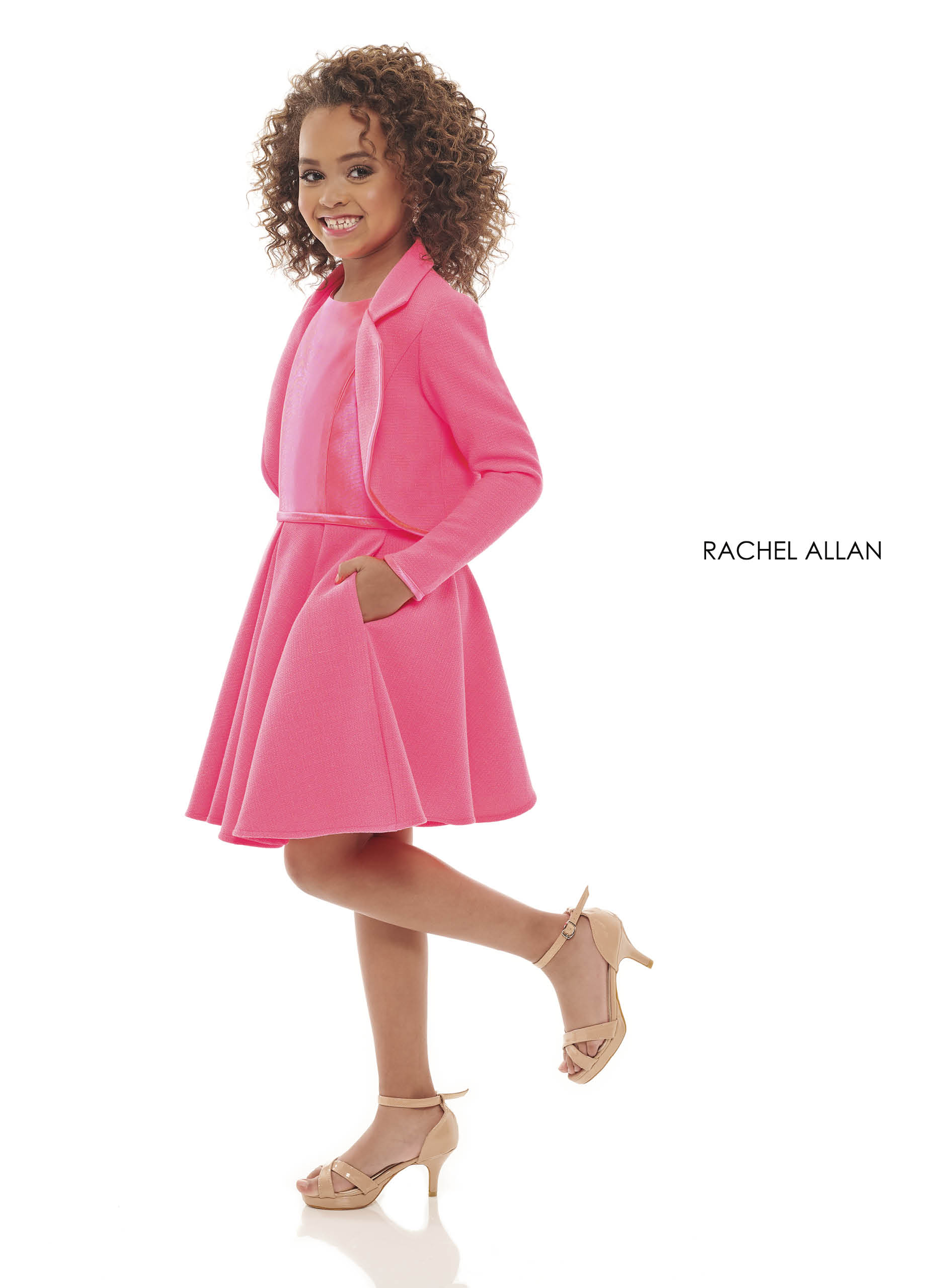 High Neckline A-Line Little Girl Pageant Dresses in Pink Color