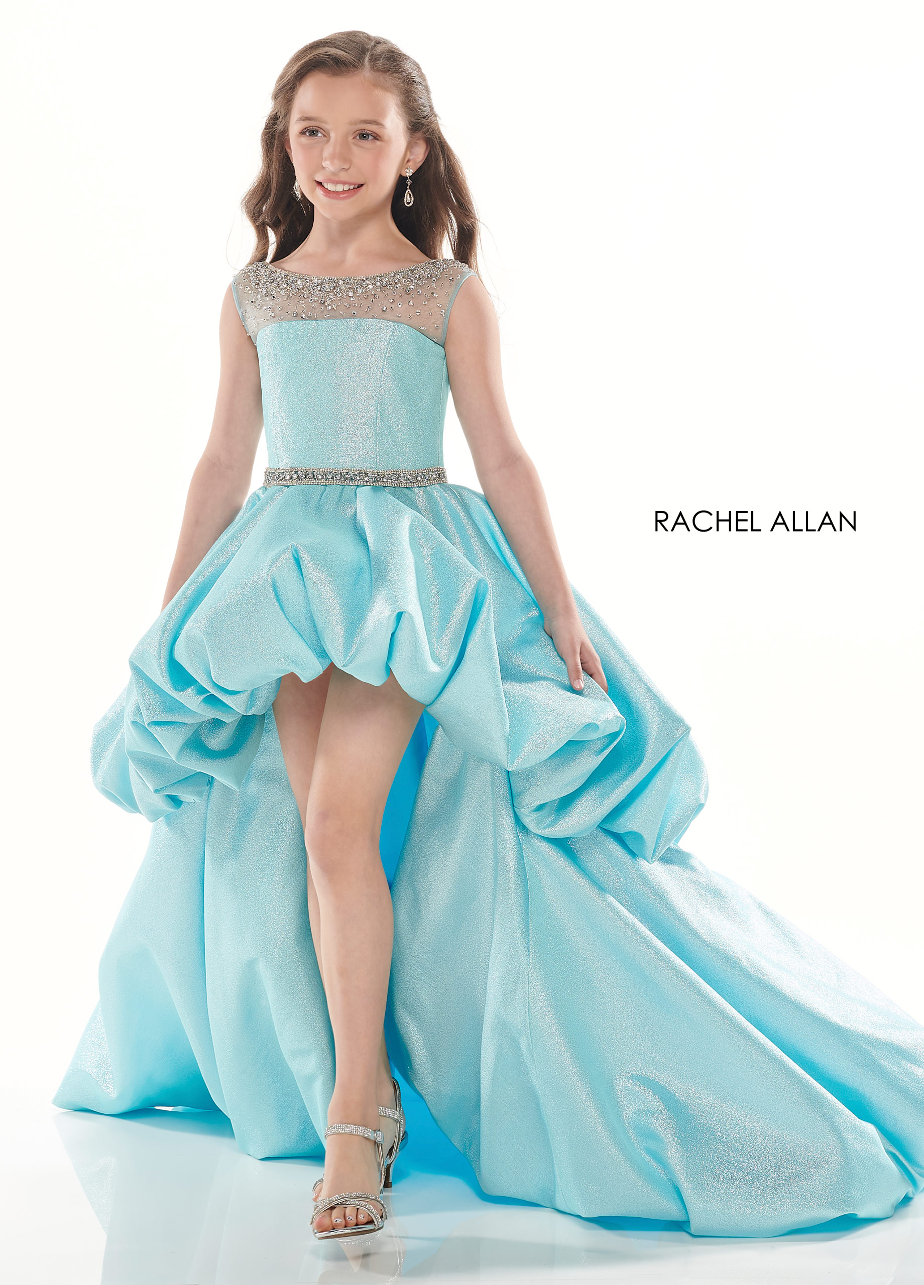Beaded Hi Low Little Girl Pageant in Aqua Color