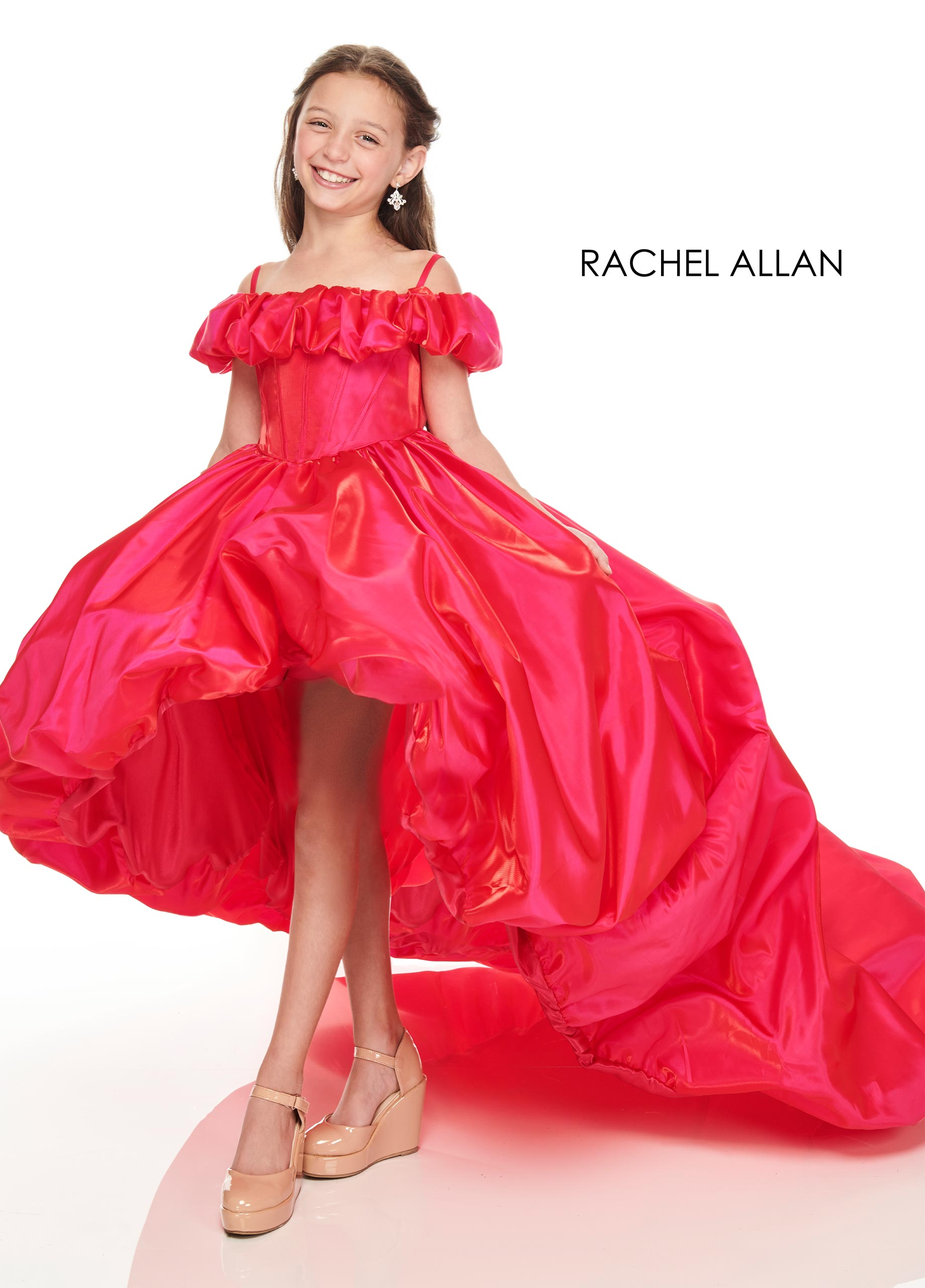 Off The Shoulder Ball Gowns Little Girl Pageant Dresses in Magenta Color
