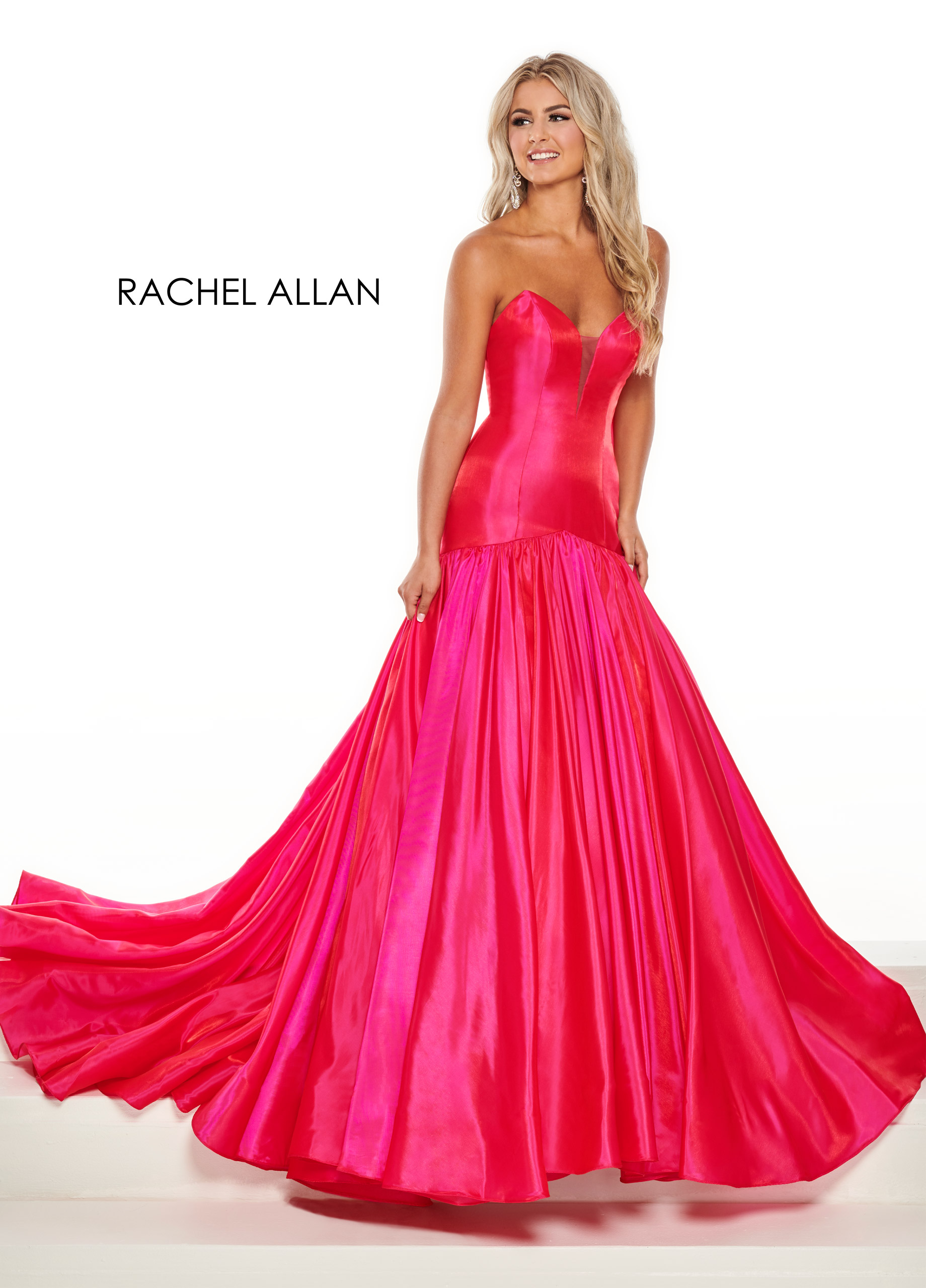 Strapless Drop Waist Pageant Dresses in Magenta Color