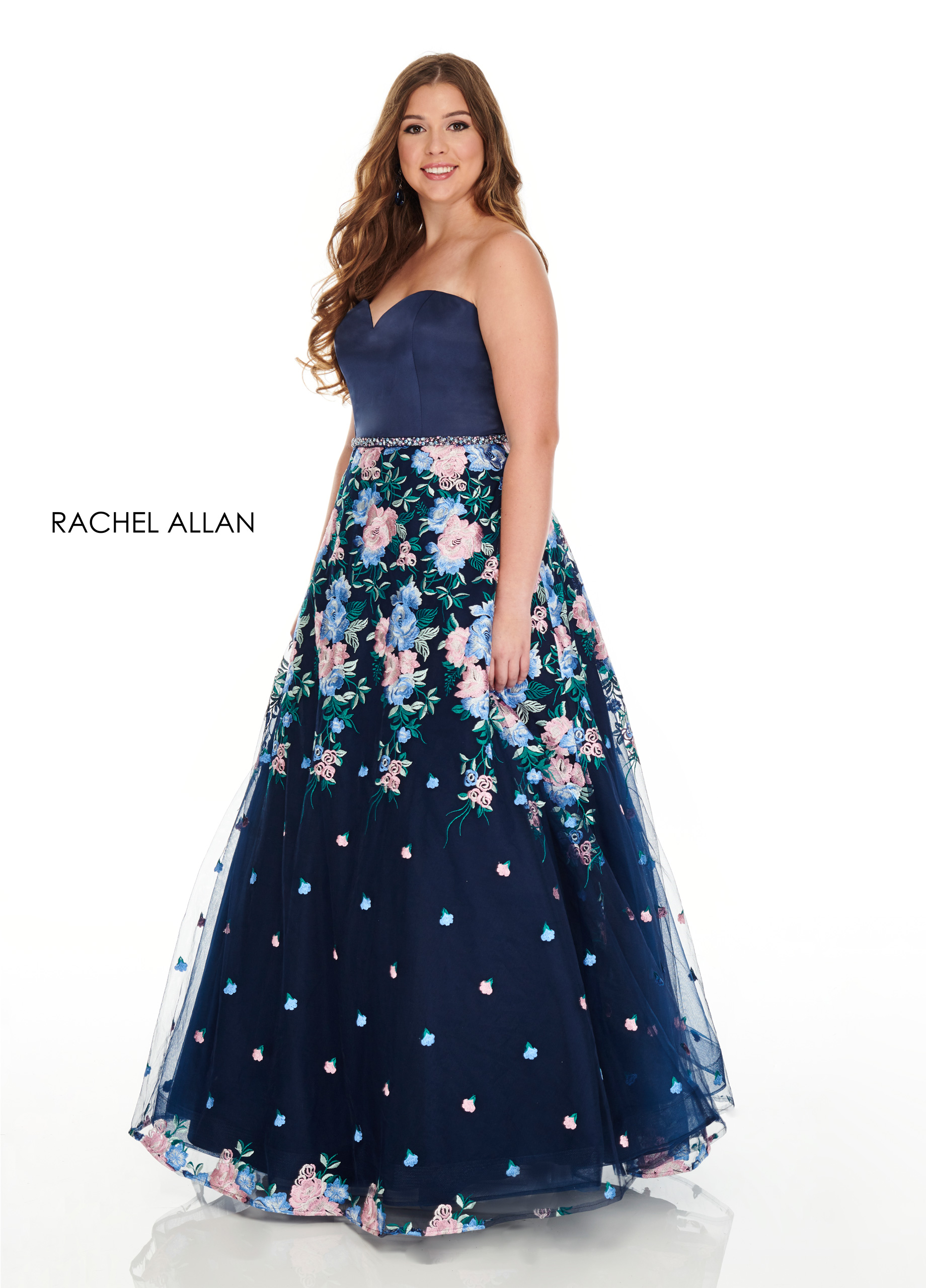 Strapless A-Line Plus Size Dresses in Navy Color