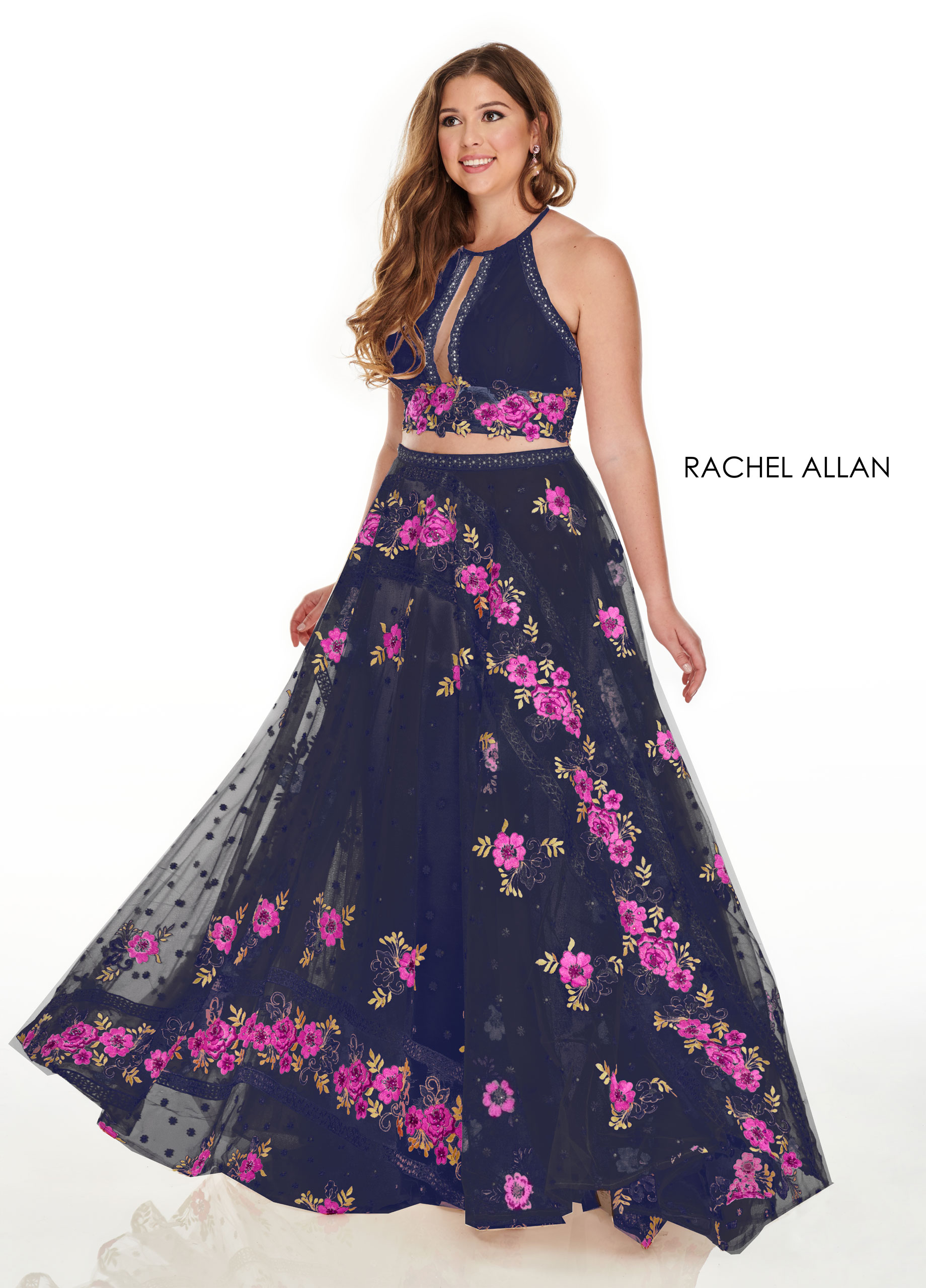 High Neckline A-Line Plus Size Dresses in Navy Color